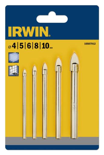 Irwin glas-, flise- og porcelænsbor, sæt med 4, 5, 6, 8, og 10 mm