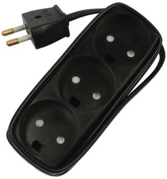 Stikdåse med 3 udtag u/jord m/ledning