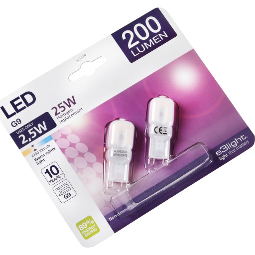 e3light G9 LED pære 2,5W 2 pak