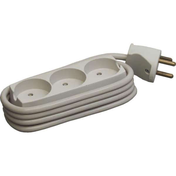 Stikdåse med 3 udtag m/jord m/ledning