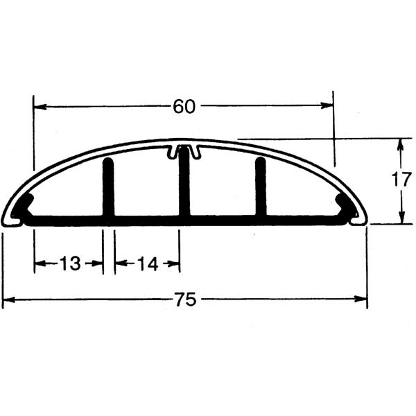 Gulvkanal m.låg SL 18x75