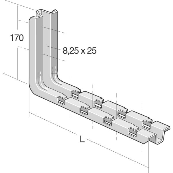 Vægbeslag til gitterbakke