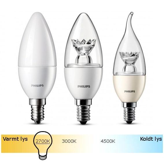 Køb Philips LED Kertepære E14 | 6 forskellige udgaver