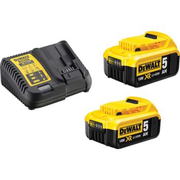 Pæn DEWALT 18V XR-batterisæt med 2 stk. 5,0 Ah-batterier og lader PN64