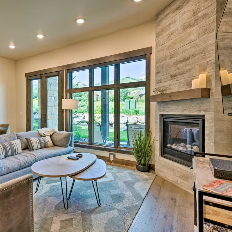 Vacation rental living room with a fireplace in Park City, Utah