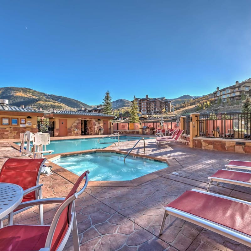 Park City, Utah ski-in/ski-out vacation rental condominium complex in the winter
