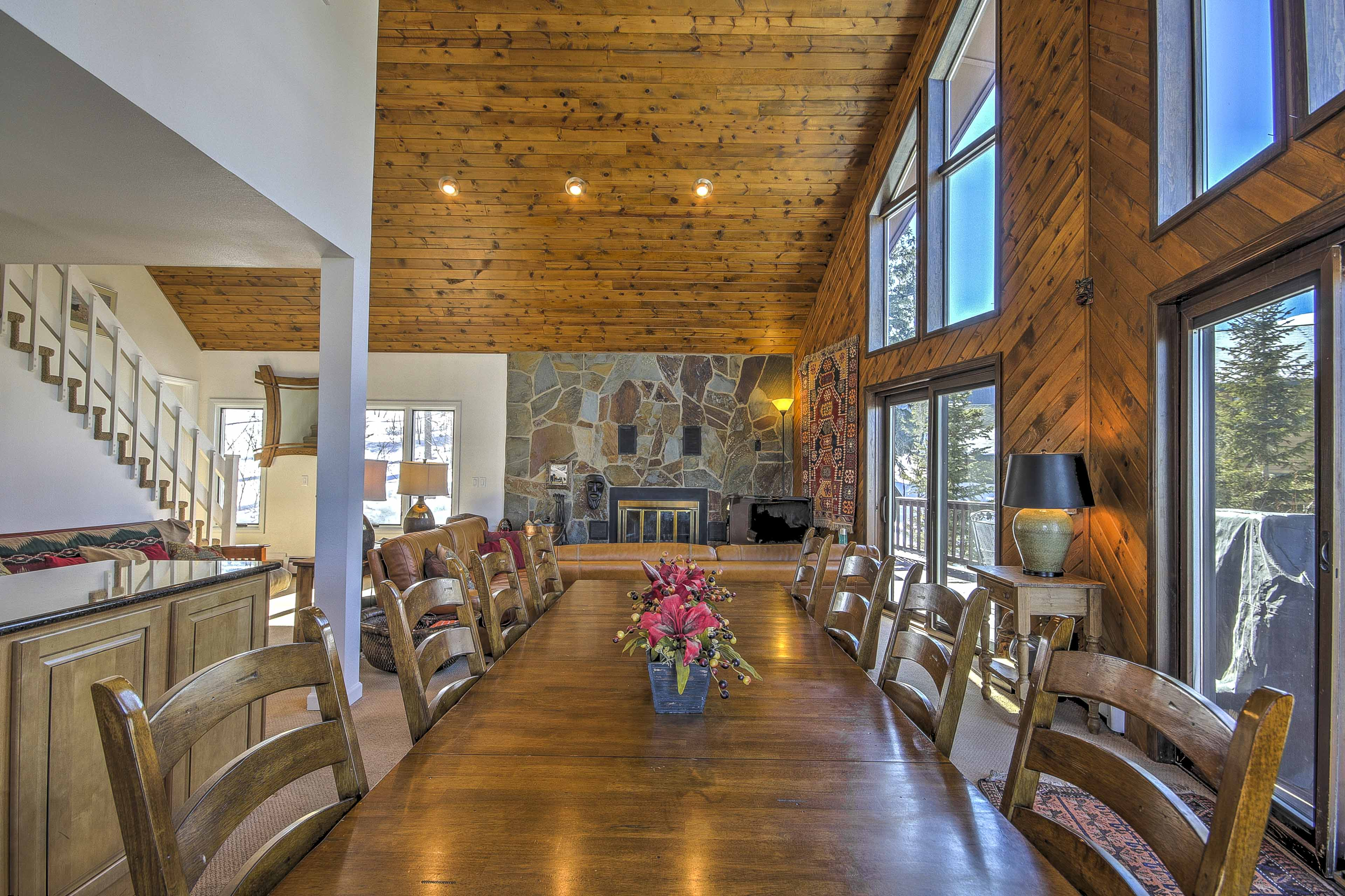 Your whole travel party will fit at this large dining table!