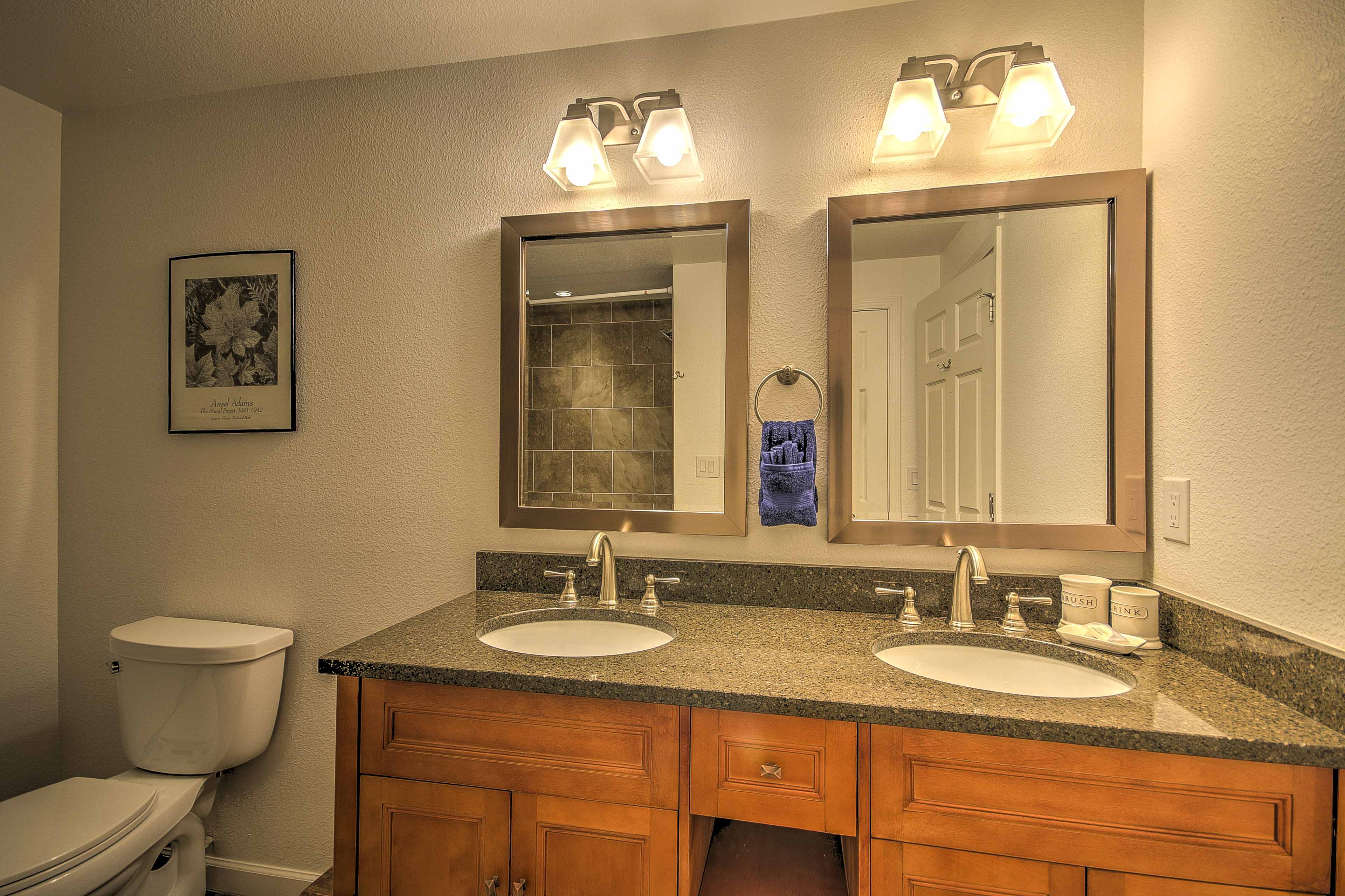 A double vanity offers plenty of space.
