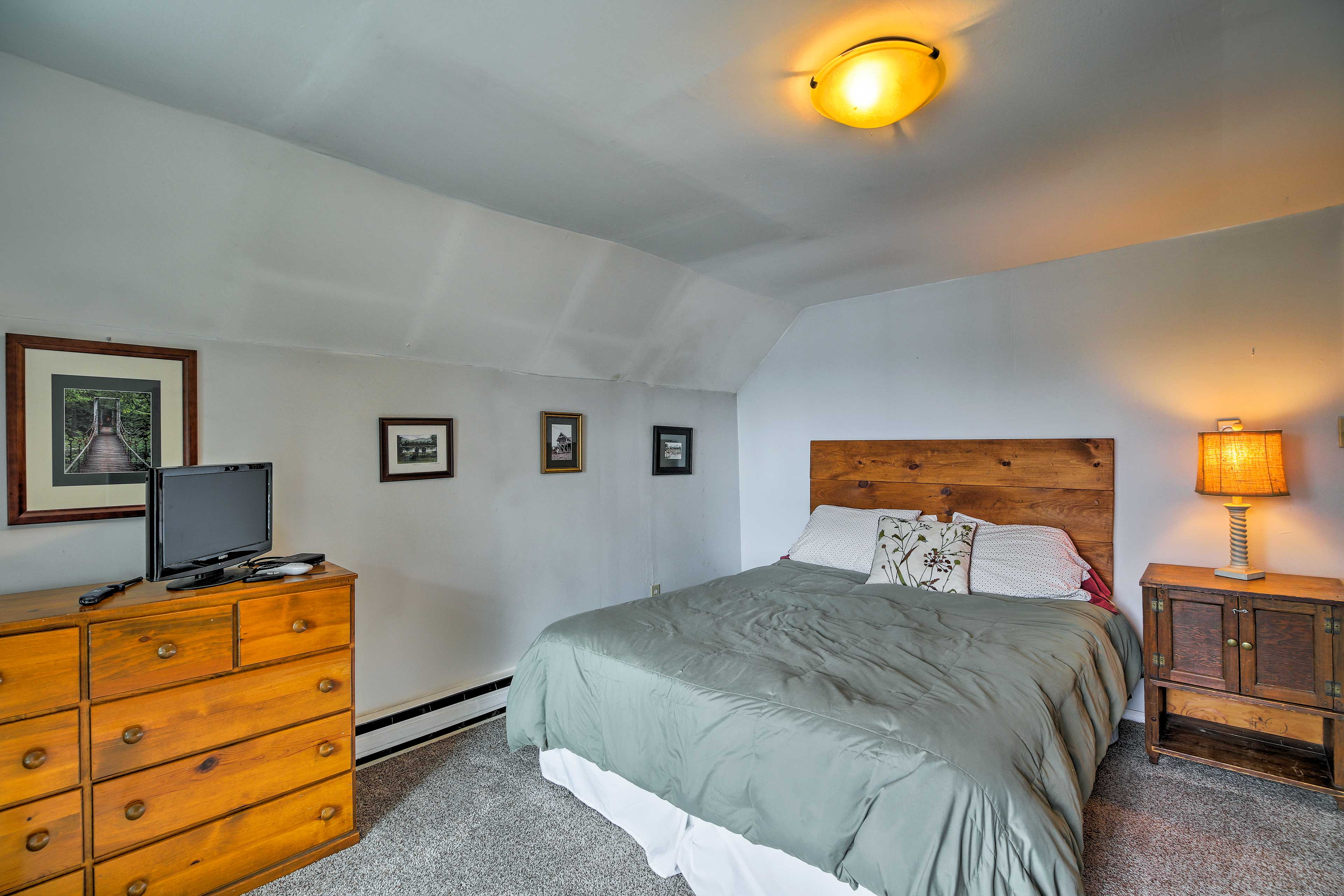 Head upstairs to the master bedroom, which offers a king bed.