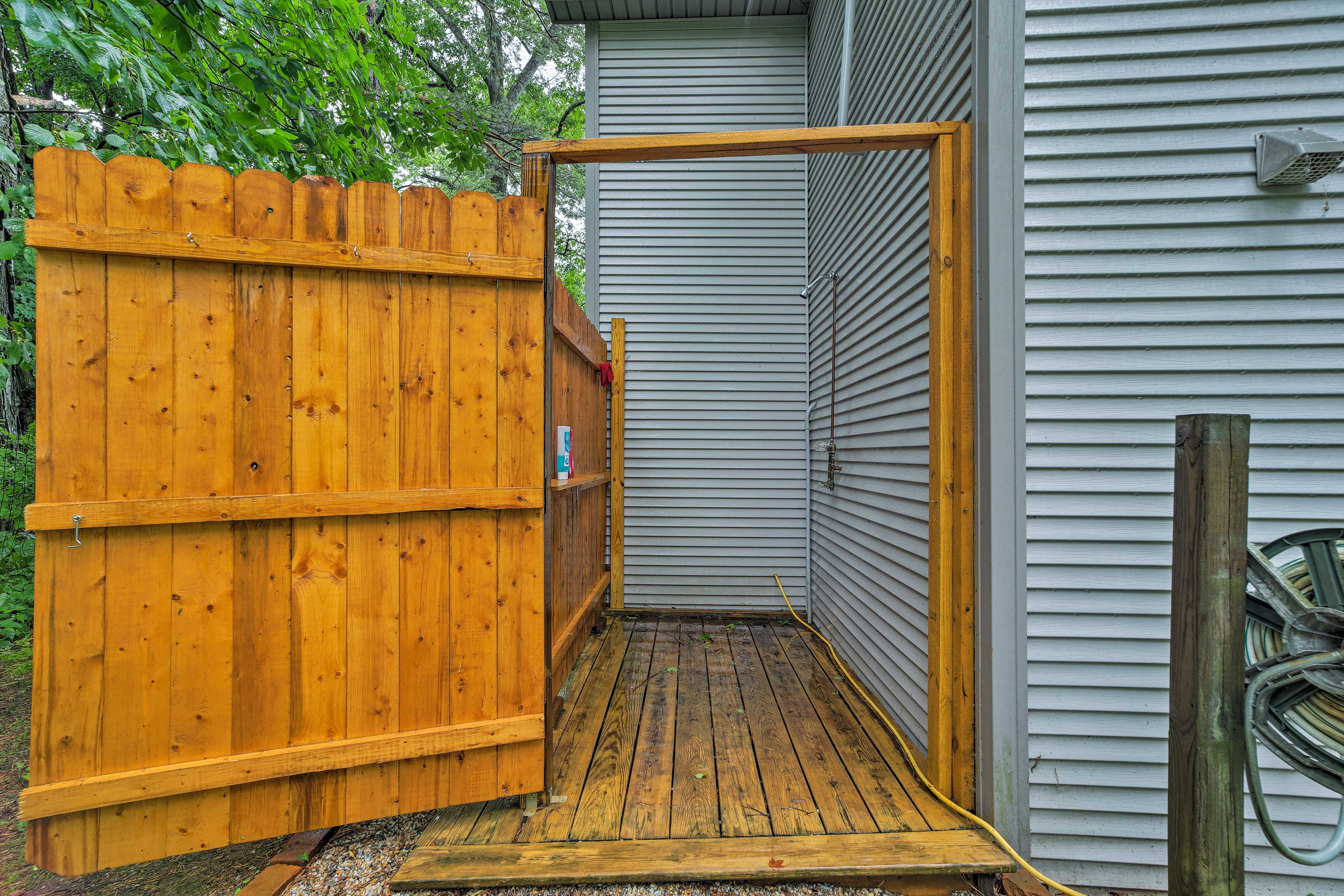 Rinse off in the brand-new outdoor shower!