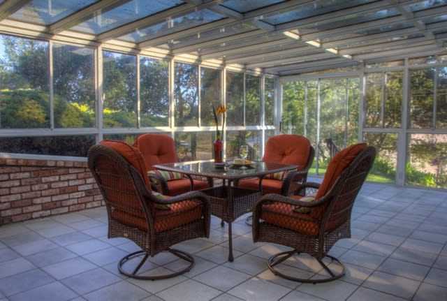 You'll love having meals out on the gorgeous sun porch
