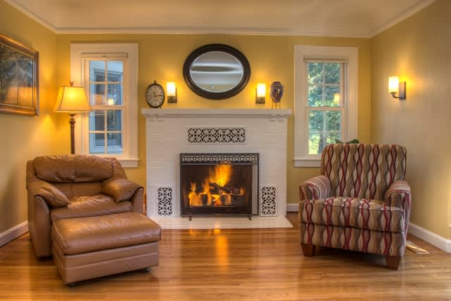 Curl up in this cozy family room!
