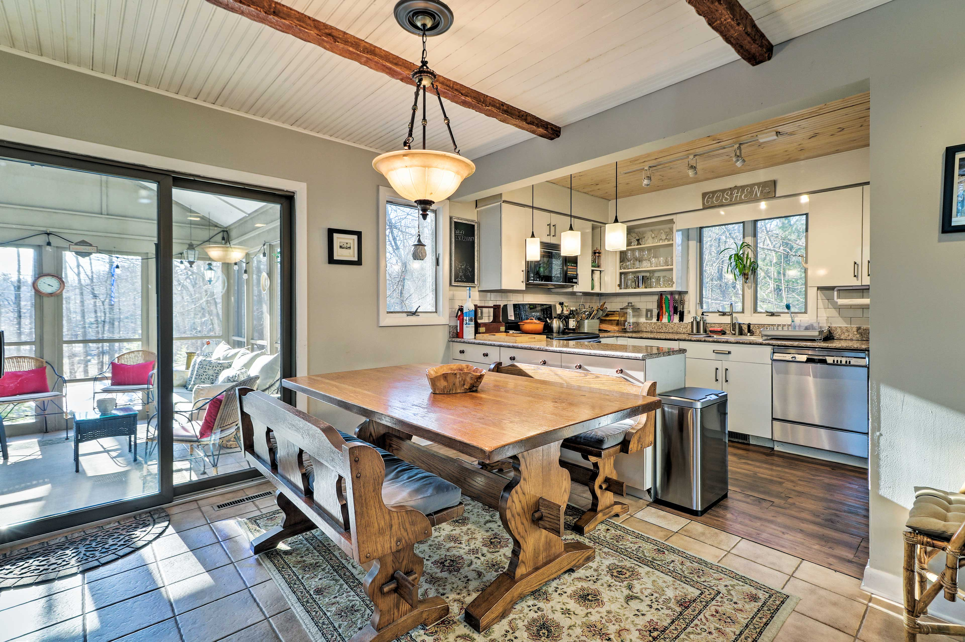 Enjoy a home-cooked meal at the large dining table.