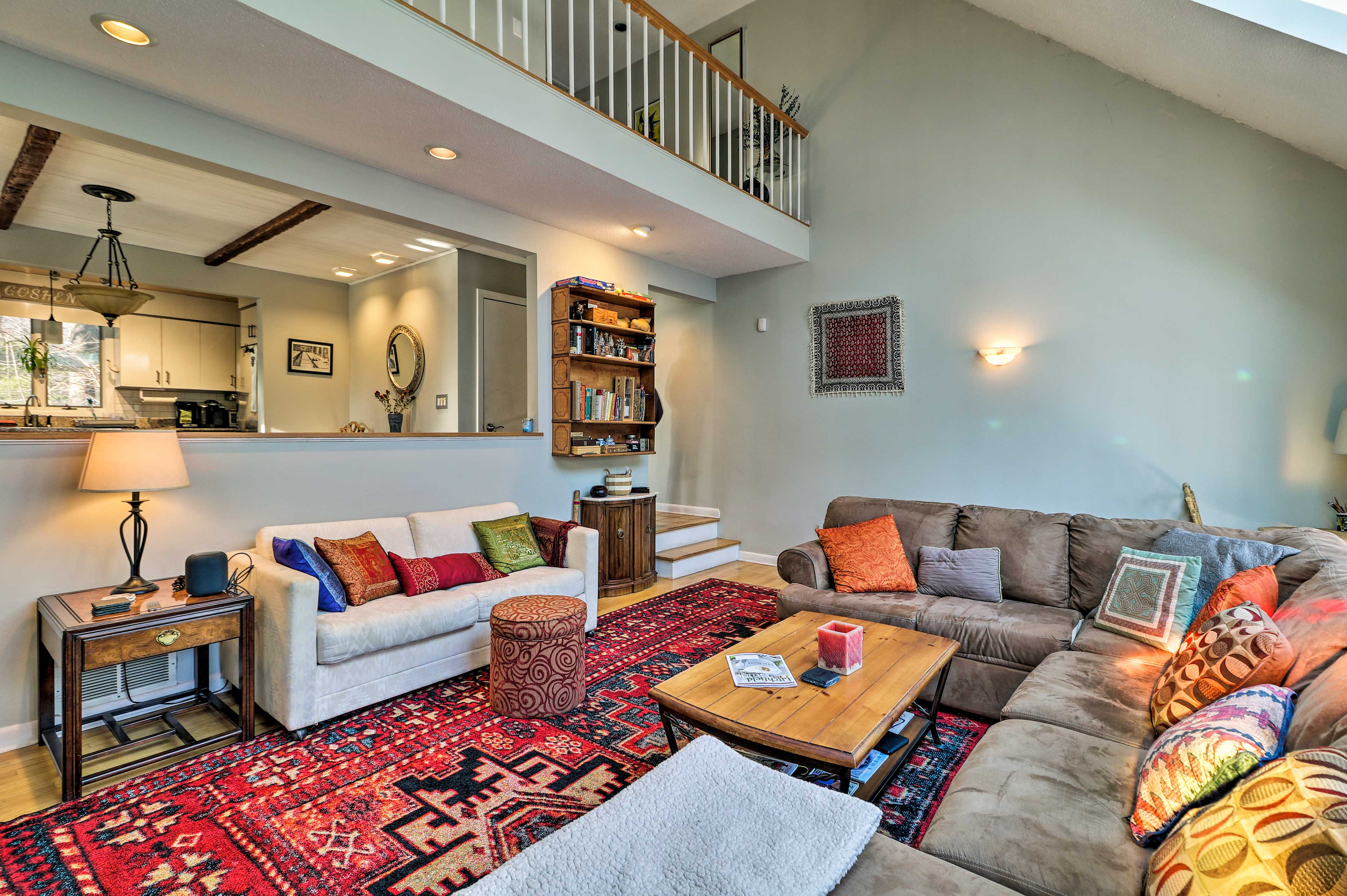 Kick back and relax in the cozy living area.