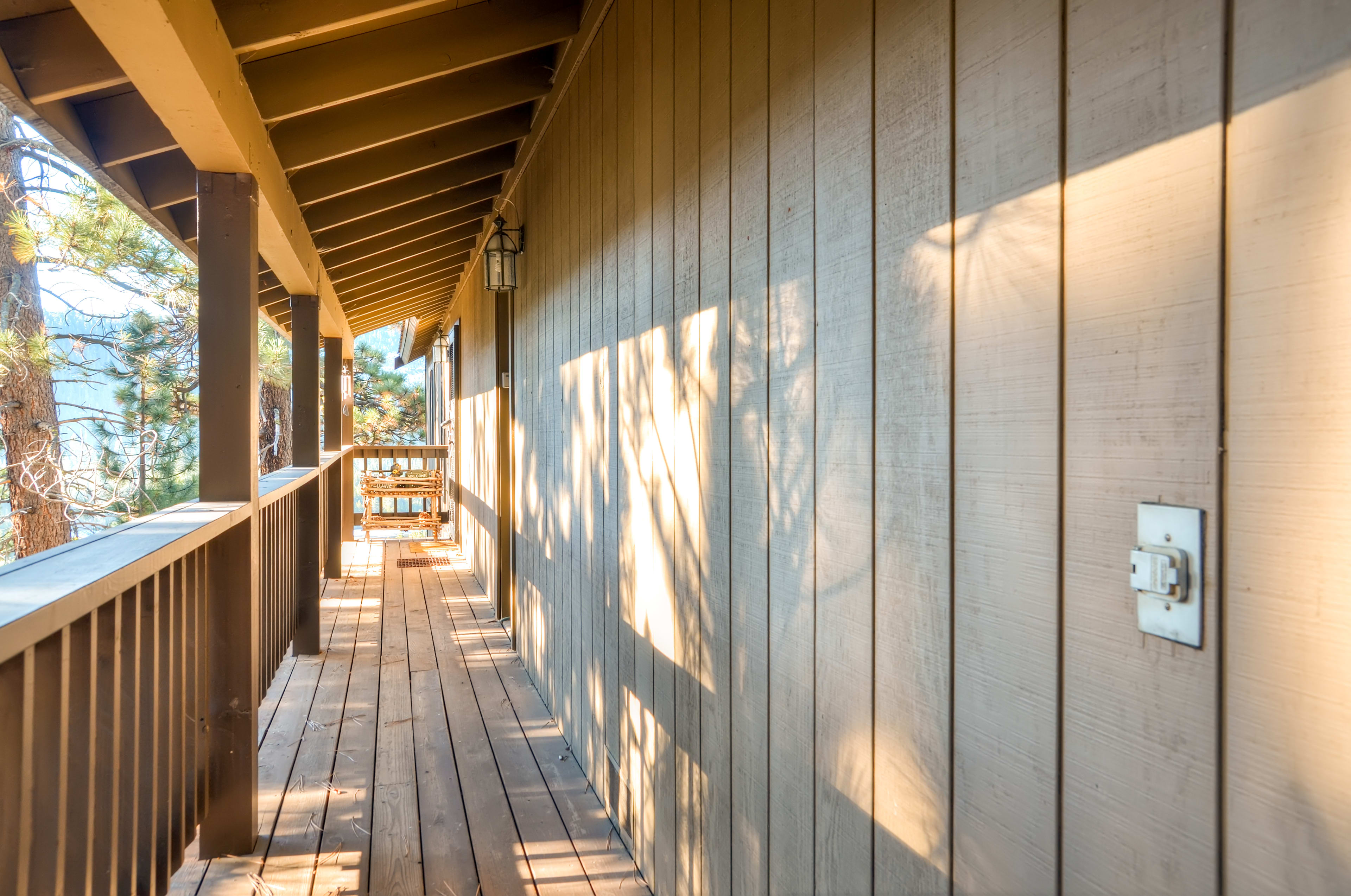 Enjoy your surroundings from the home's covered deck!