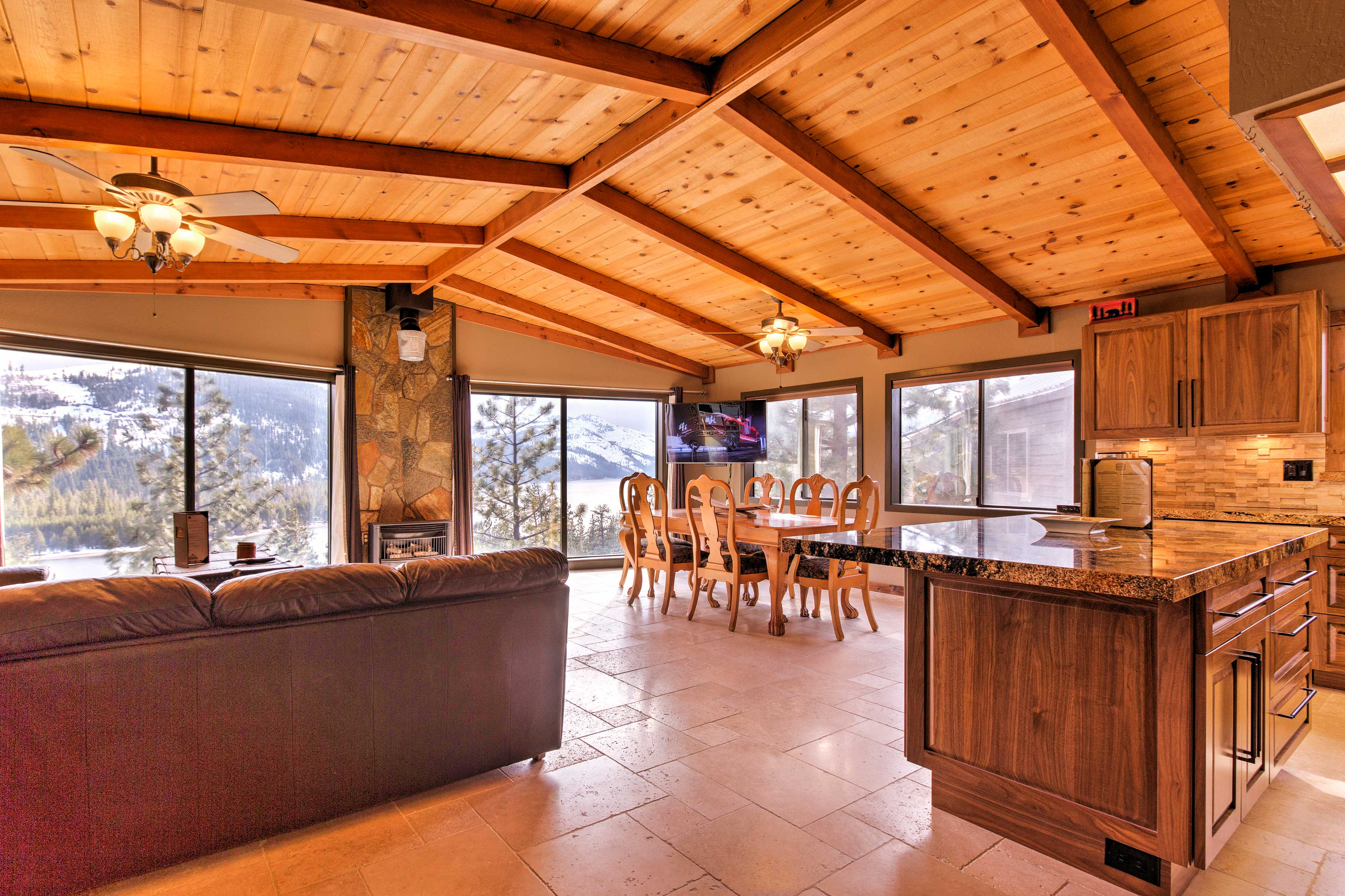 Large windows provide stunning views throughout the open floor plan.