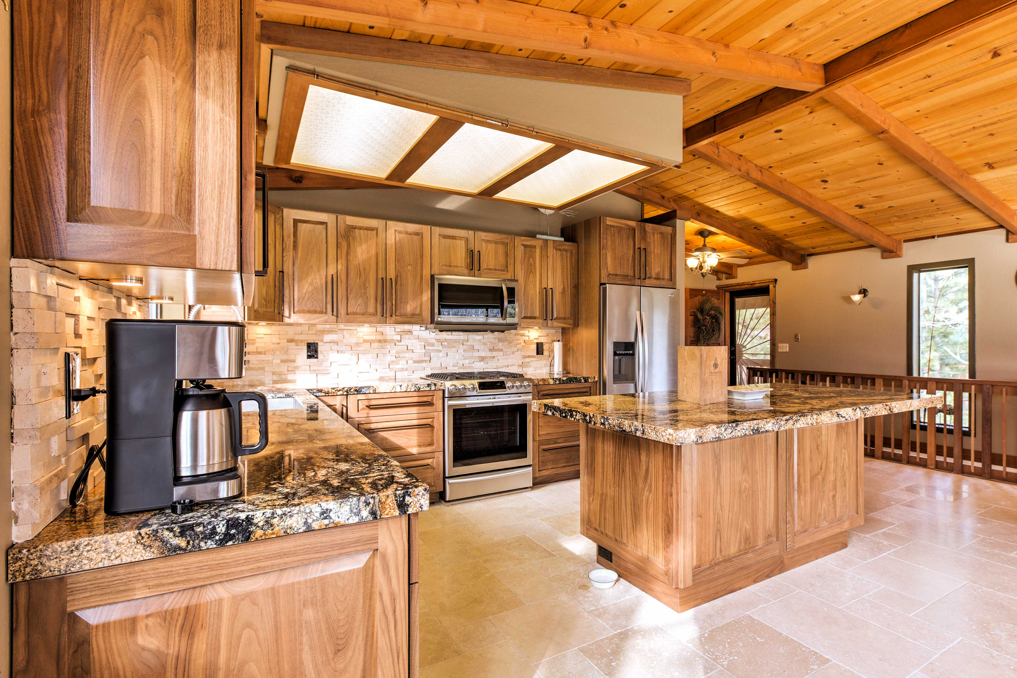 Enjoy your morning coffee at the kitchen island.