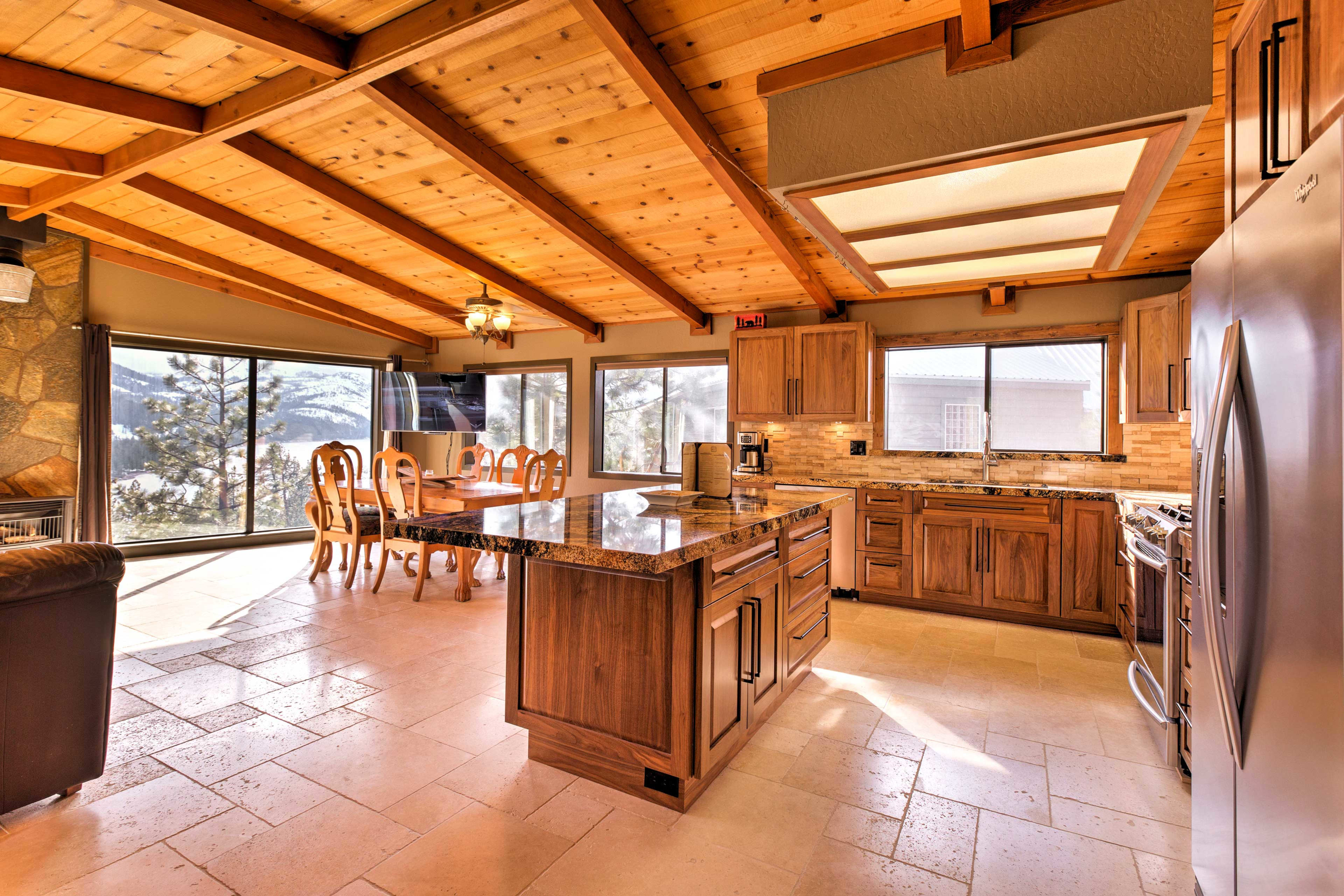 Open beam ceilings add a rustic element.