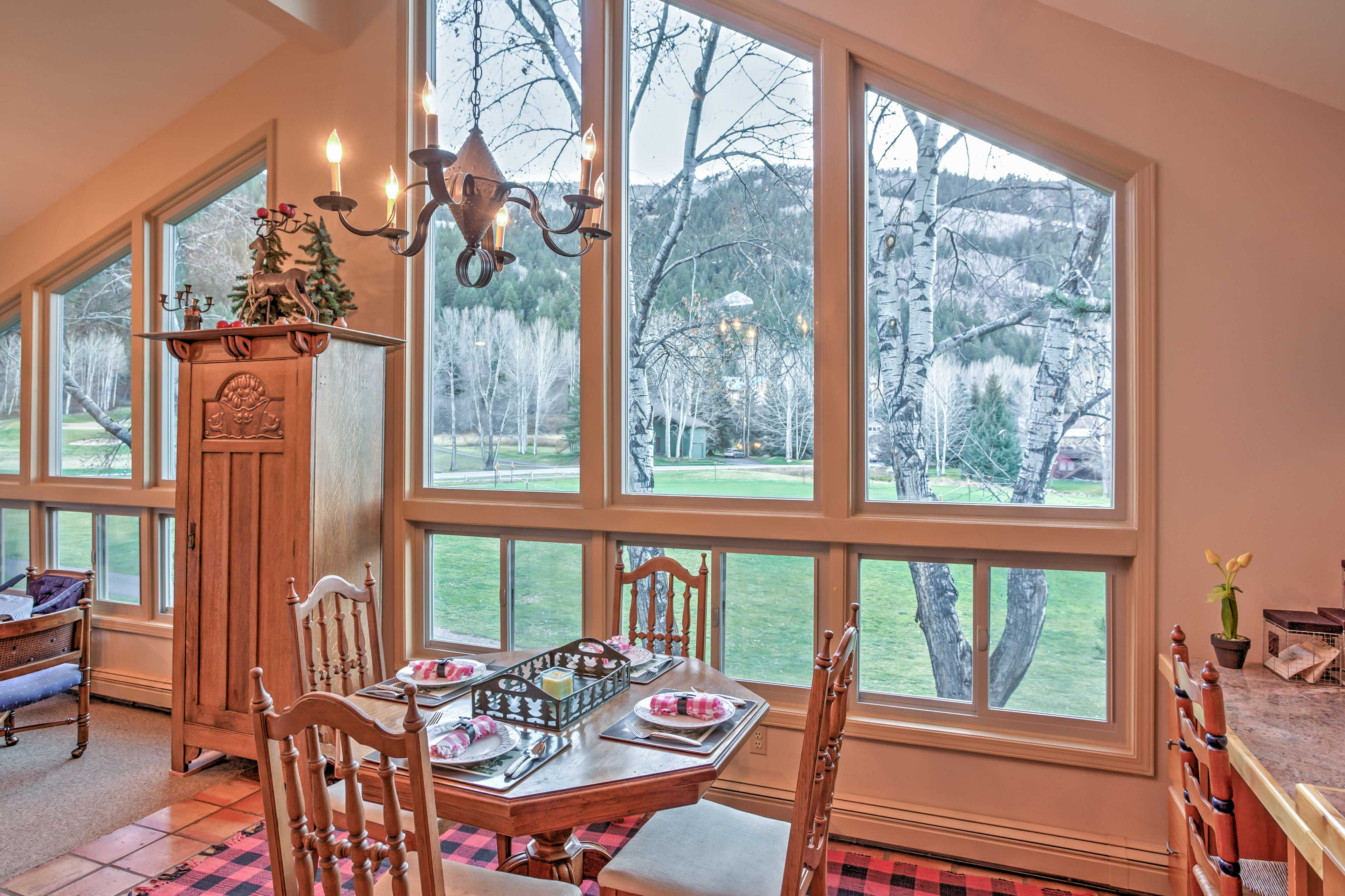 Enjoy picturesque views through the massive windows.