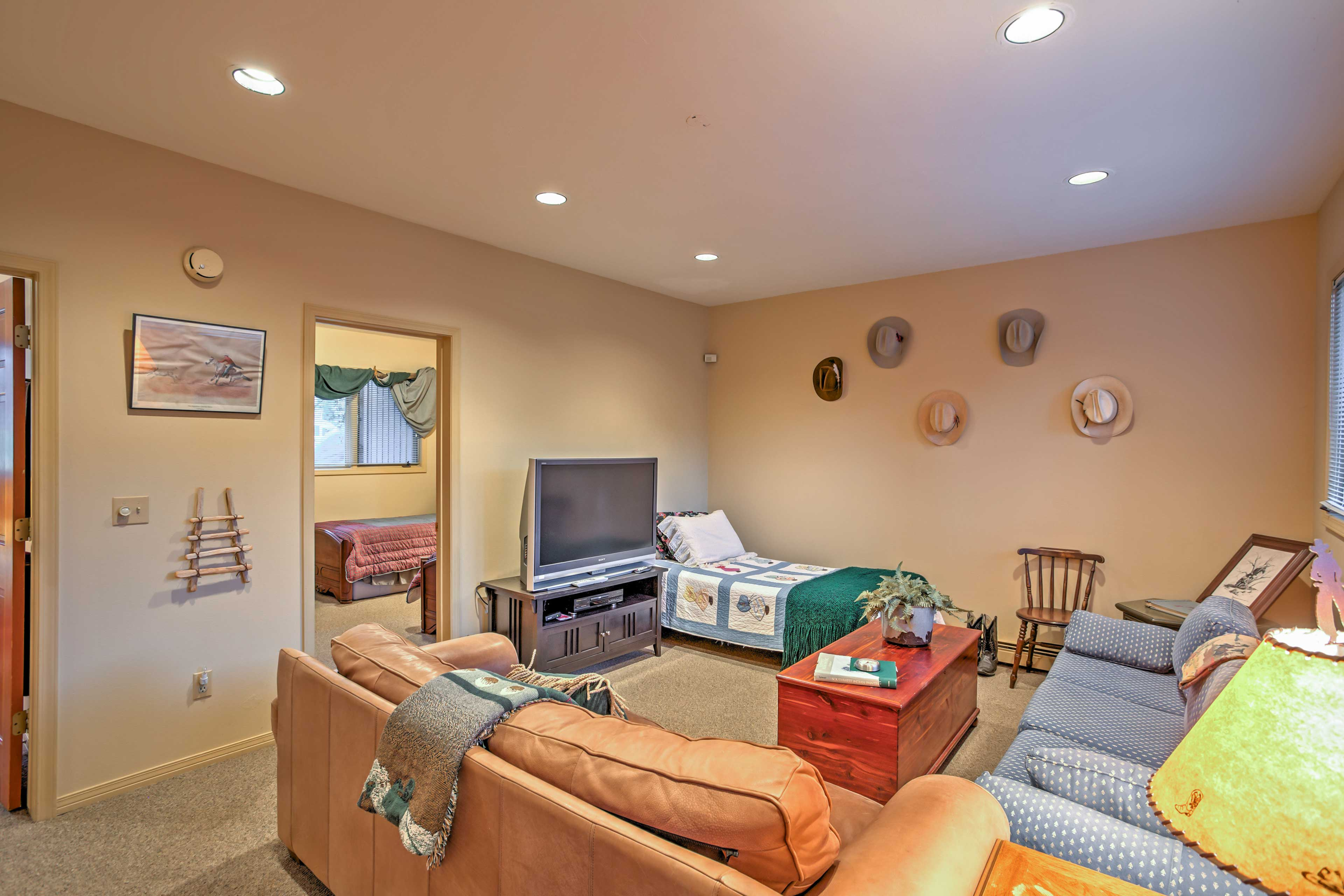 The basement rec room provides another space to relax!
