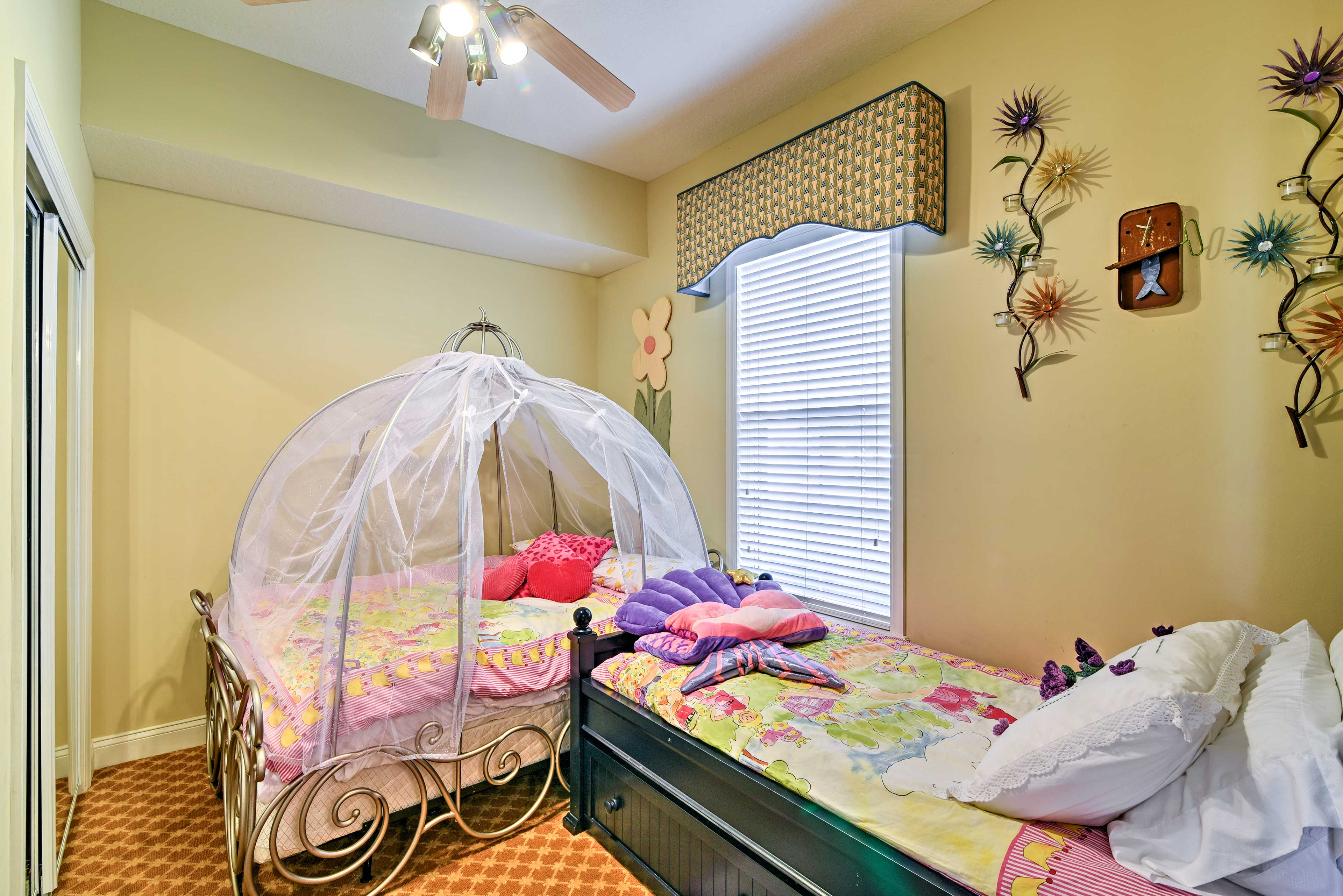 Bedroom 3 (Cinderella Room) | Full Bed | Twin Bed w/ Twin Trundle Bed