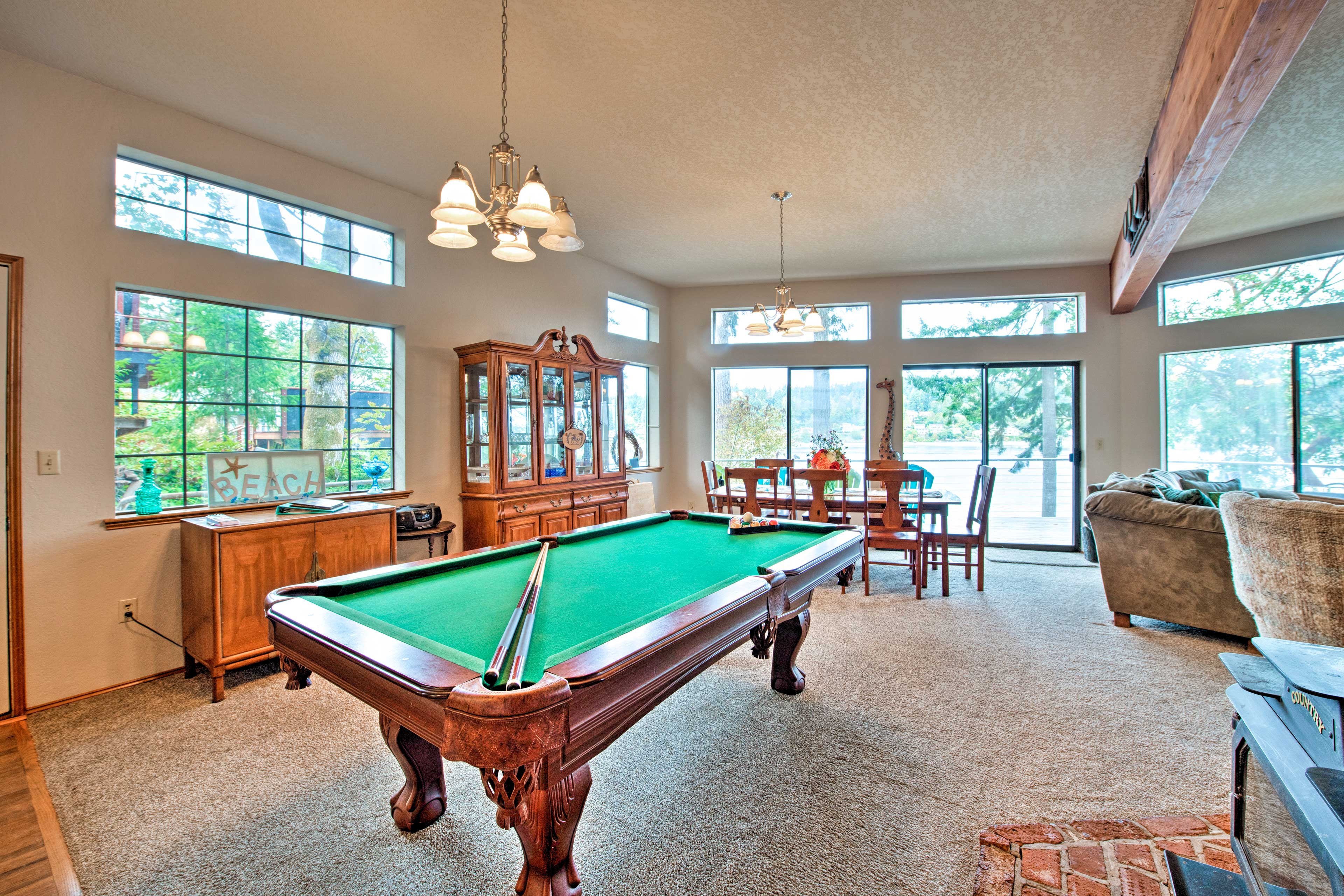Main Living Space | Pool Table | Wood-Burning Stove