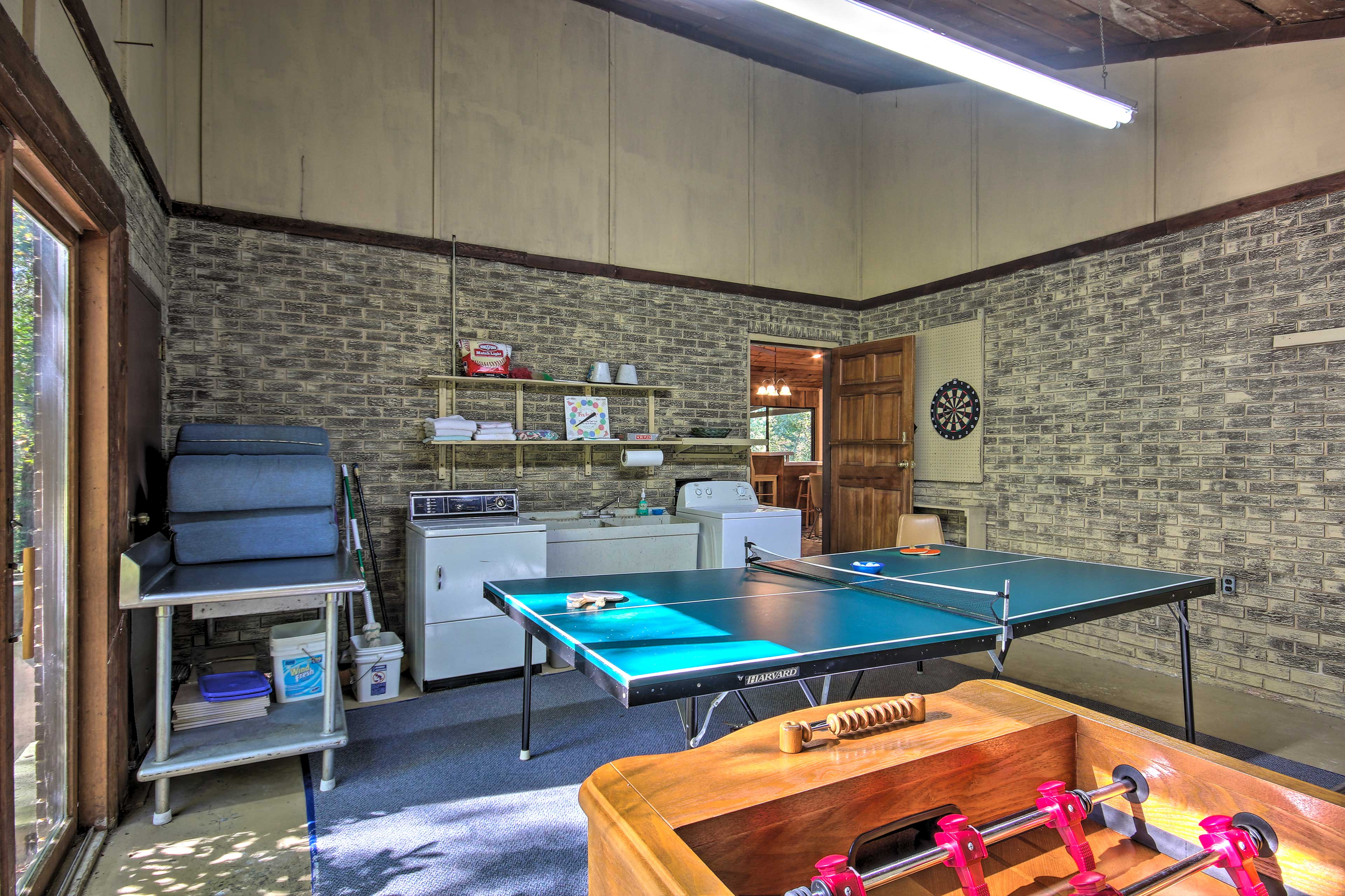Play an exciting game of ping pong or Foosball in the game room.