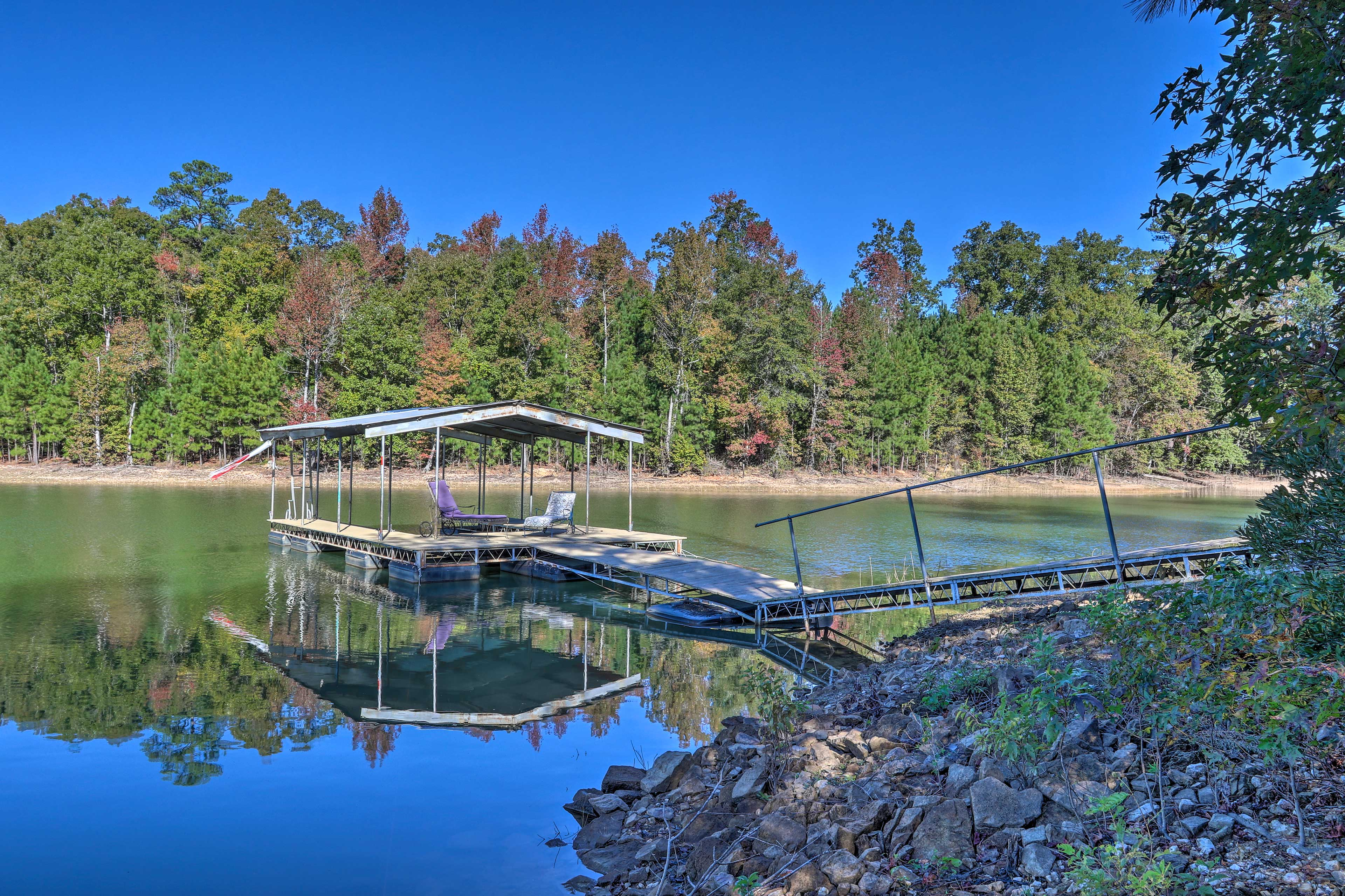 The private dock provides access to Thurmond Lake recreational activities!