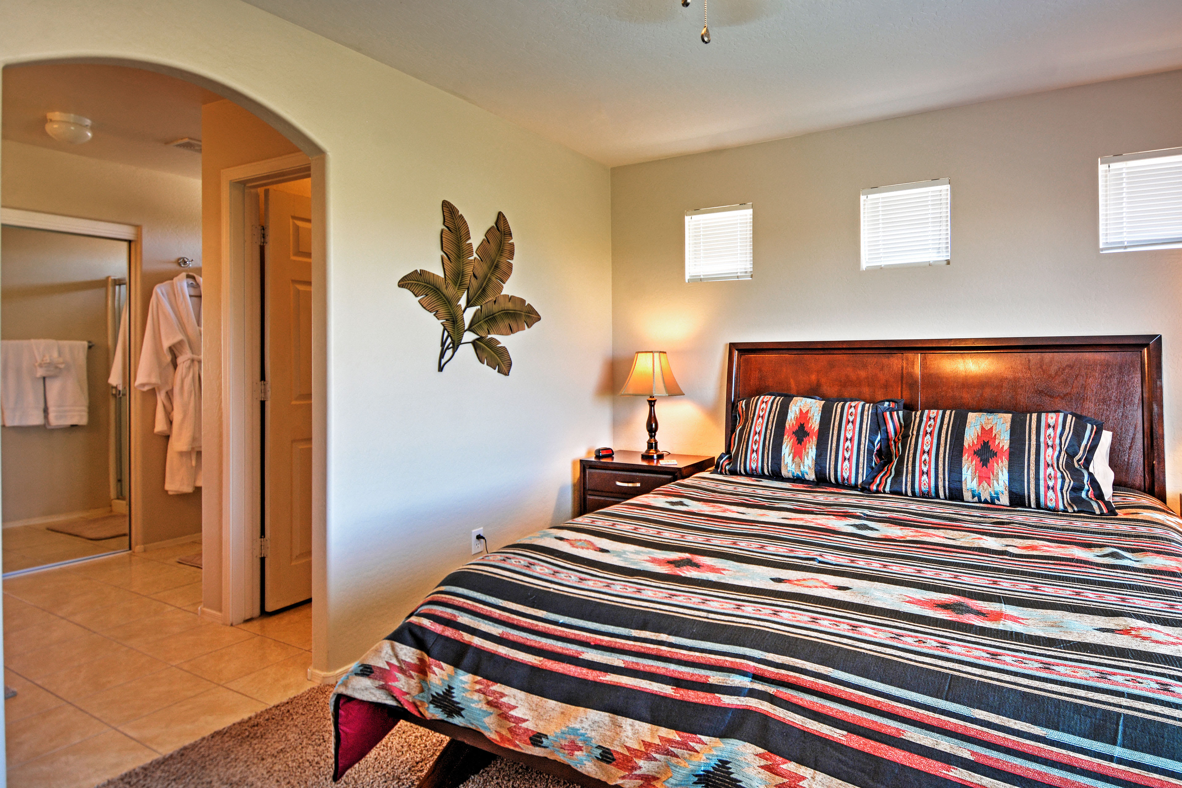 Sleep in peace in the comfort of the king bed in the master bedroom.