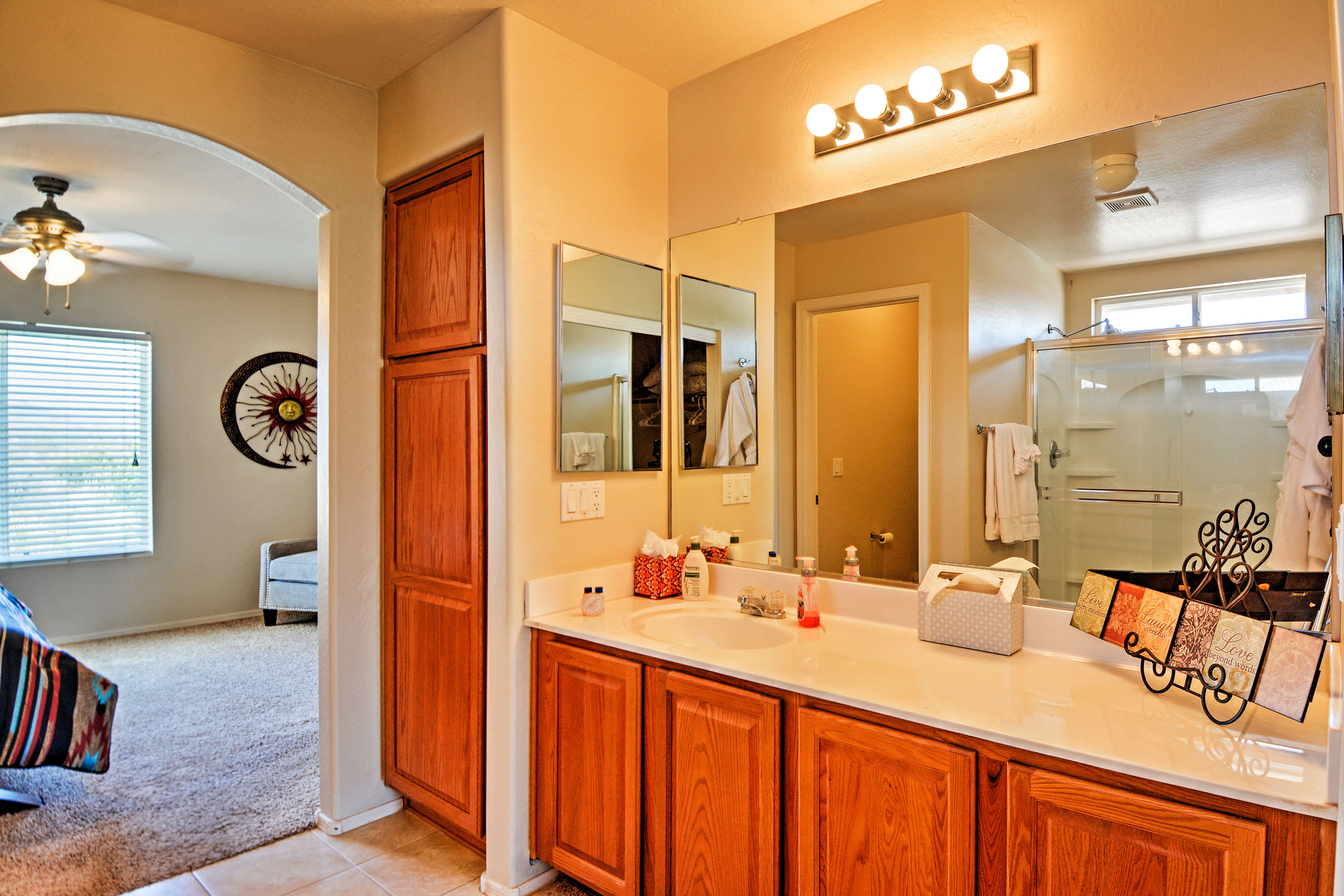 Freshen up in this lovely en-suite bathroom before hitting the town!