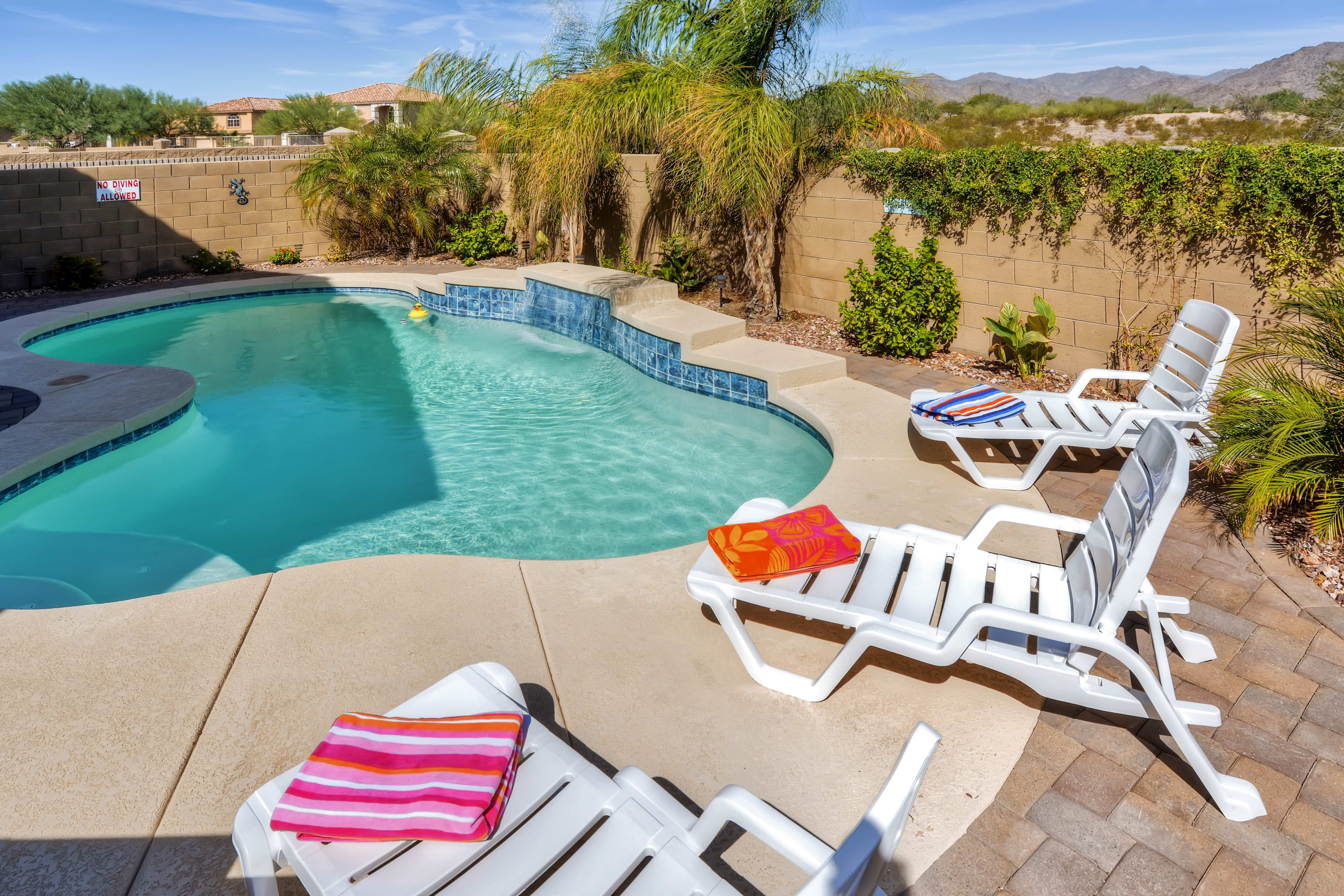 Cool off in the private pool!