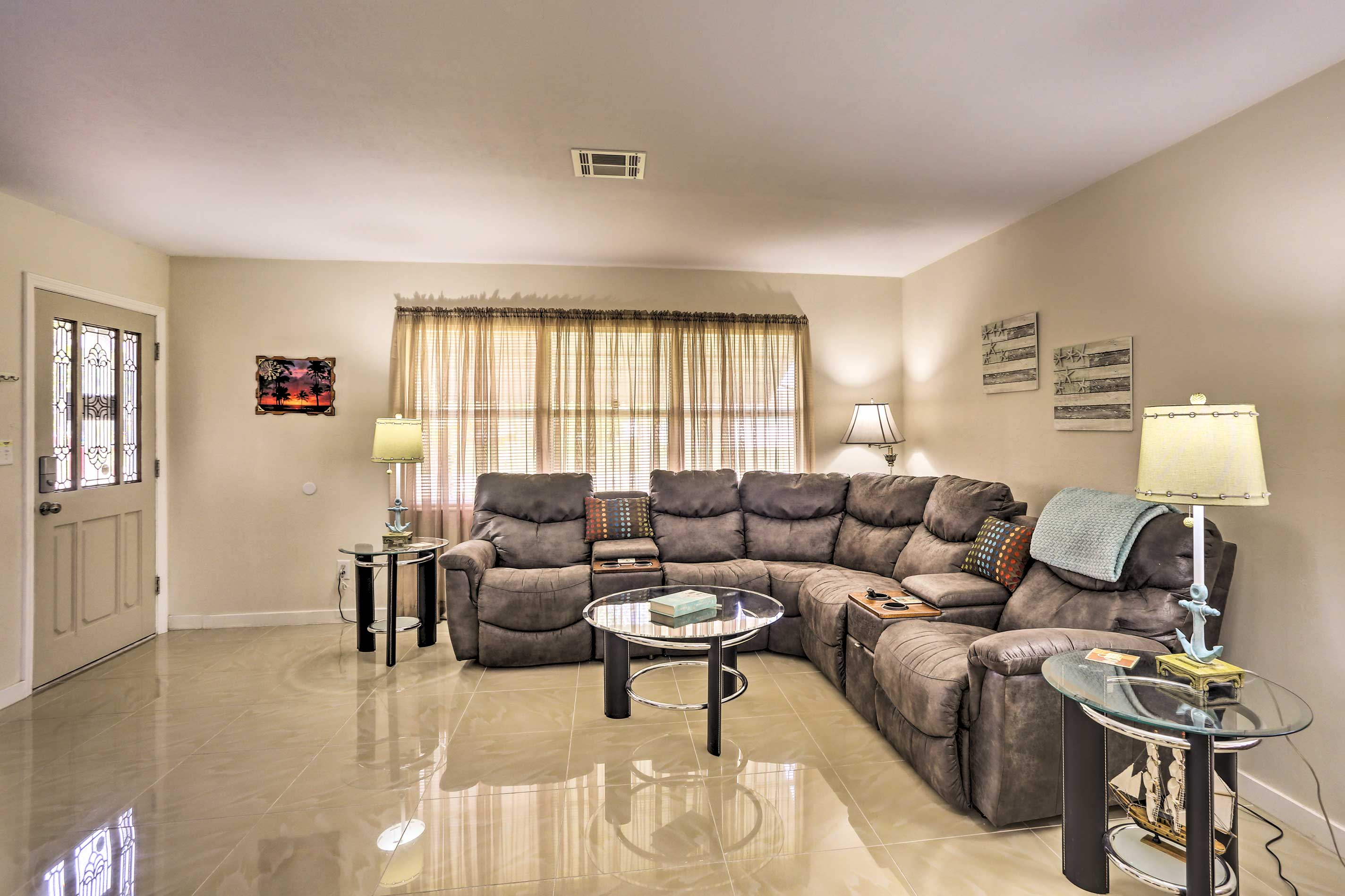 Stretch out on the large sectional sofa.