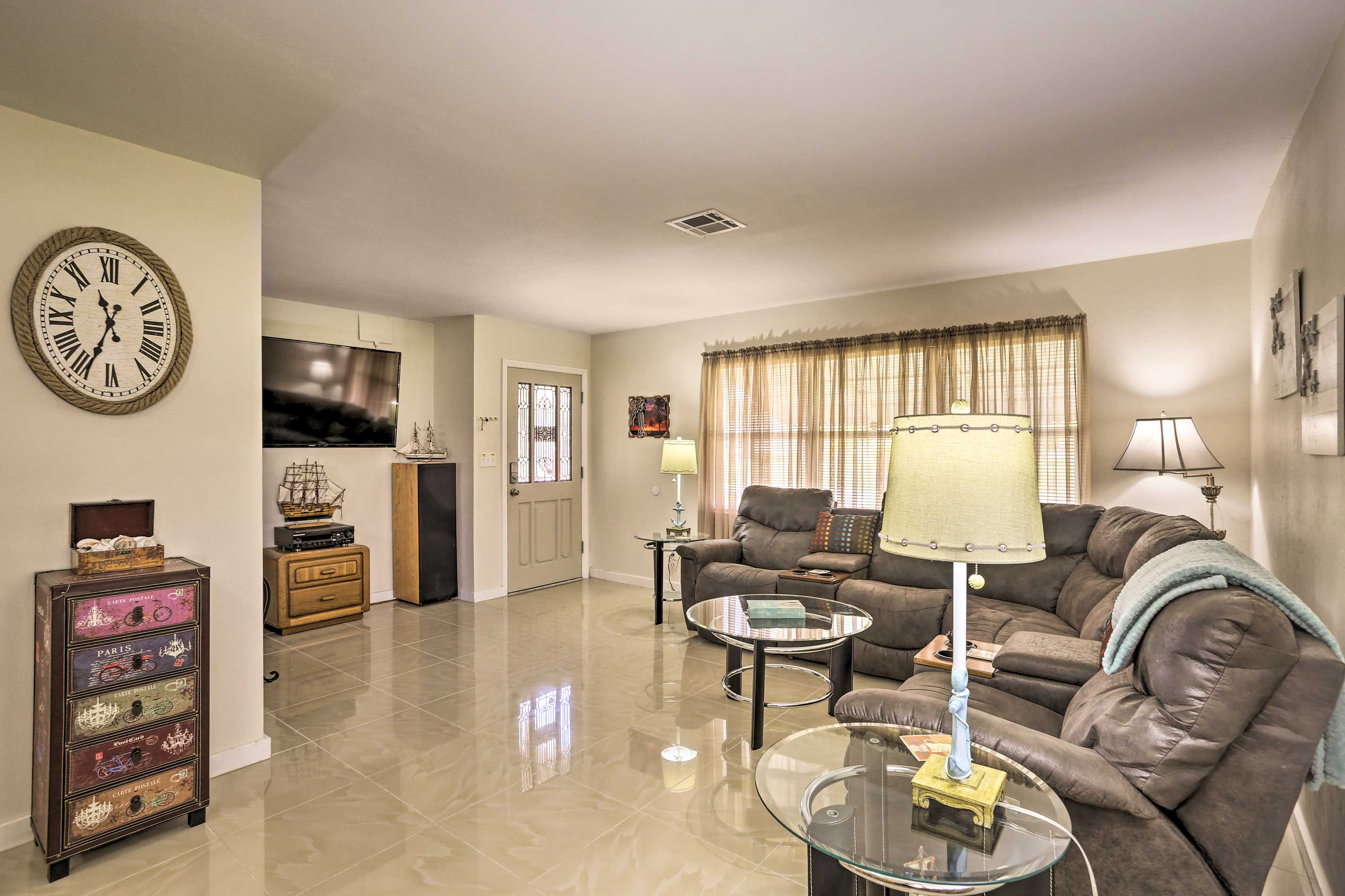 The interior is furnished with comfort and style in mind.