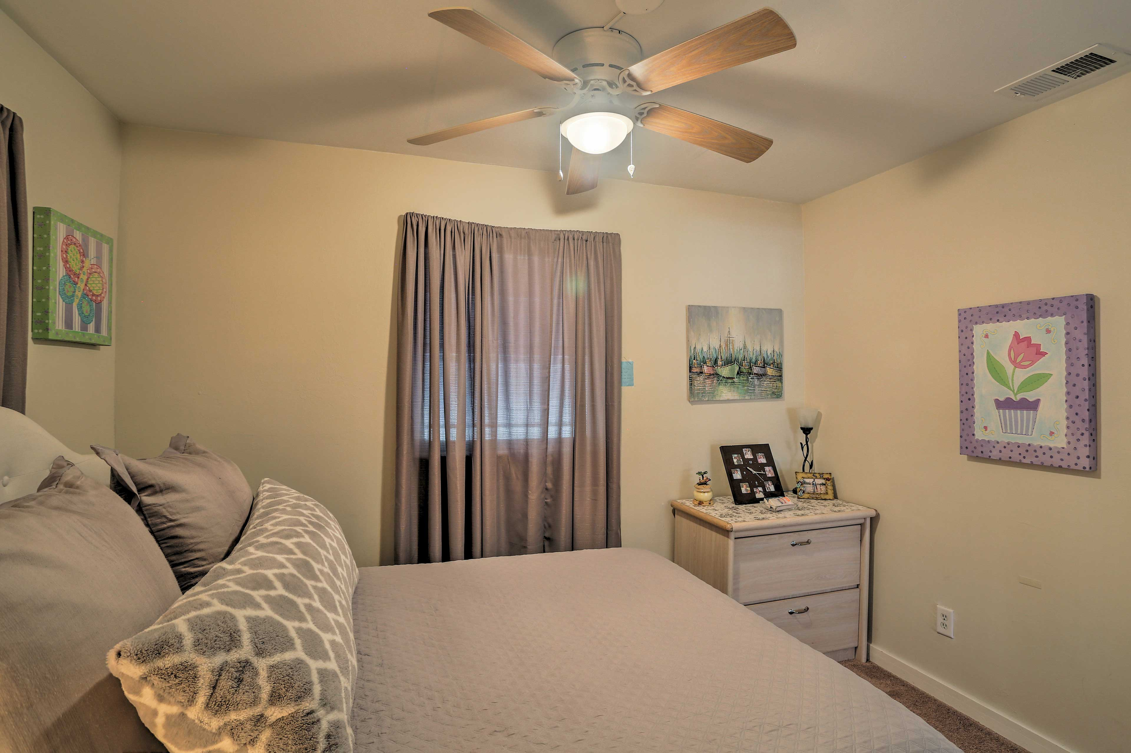 Cool off with the ceiling fan.