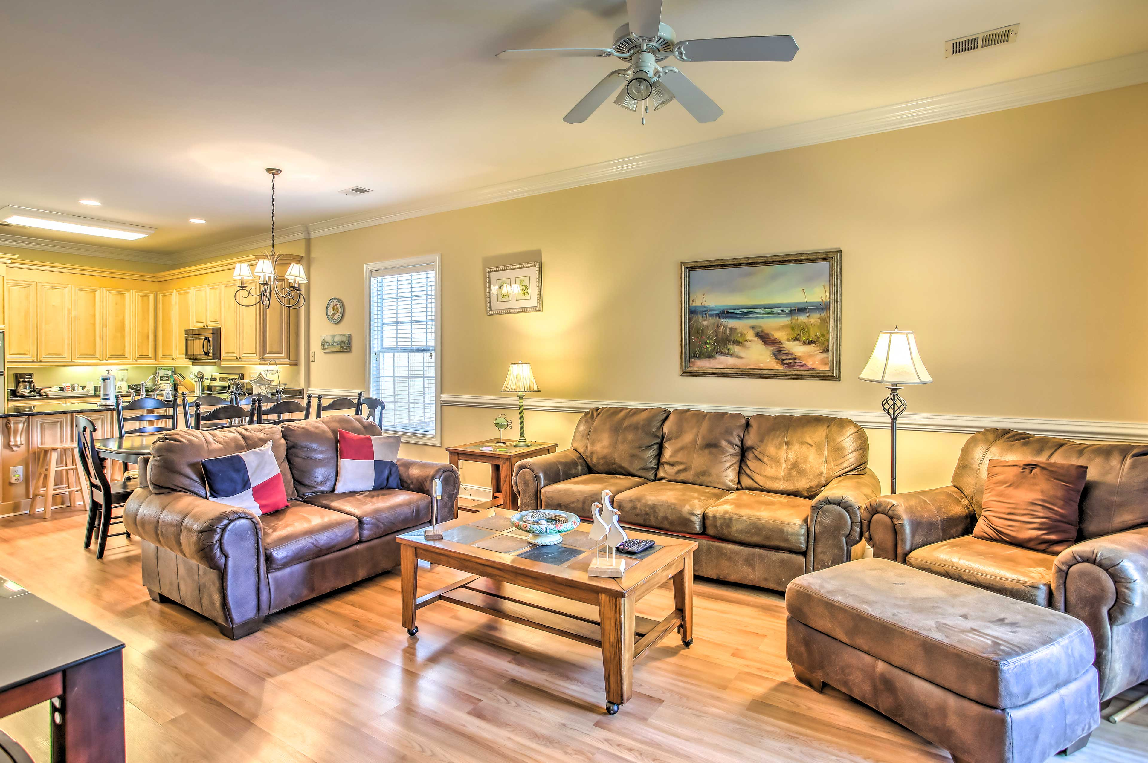 There's plenty of room for the group to lounge in the living area.