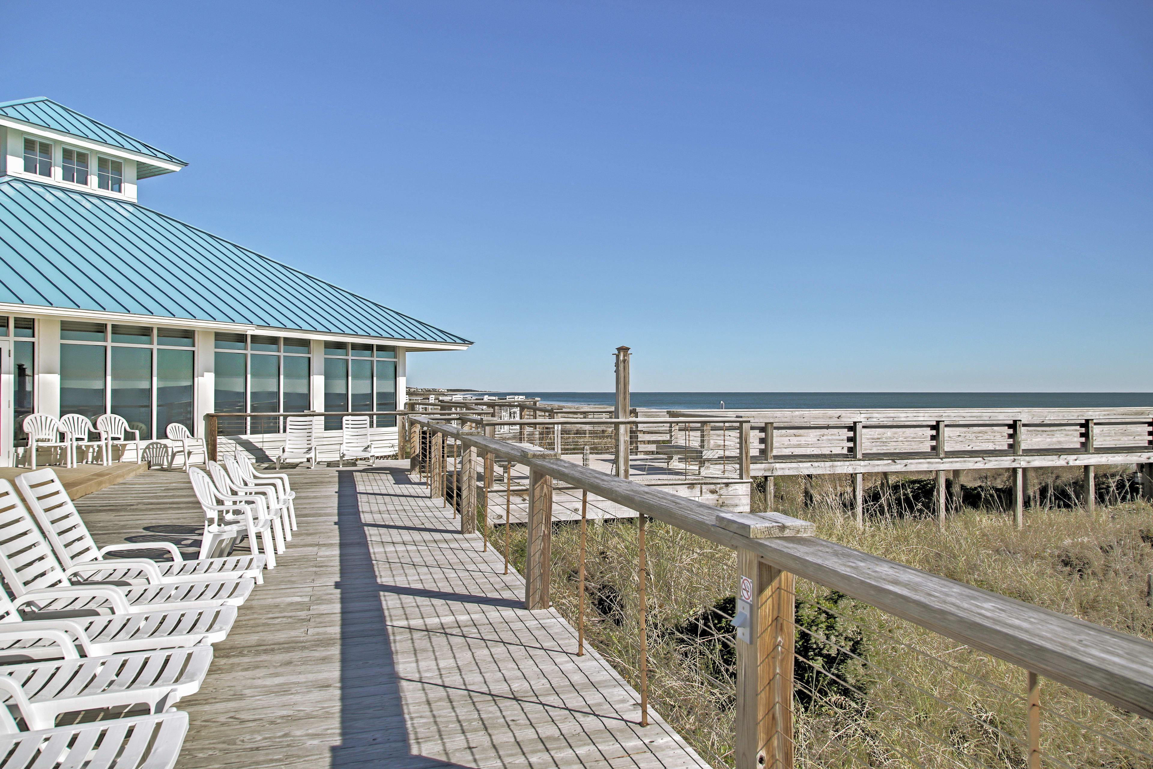 Walk along the boardwalk and lounge in the sun.
