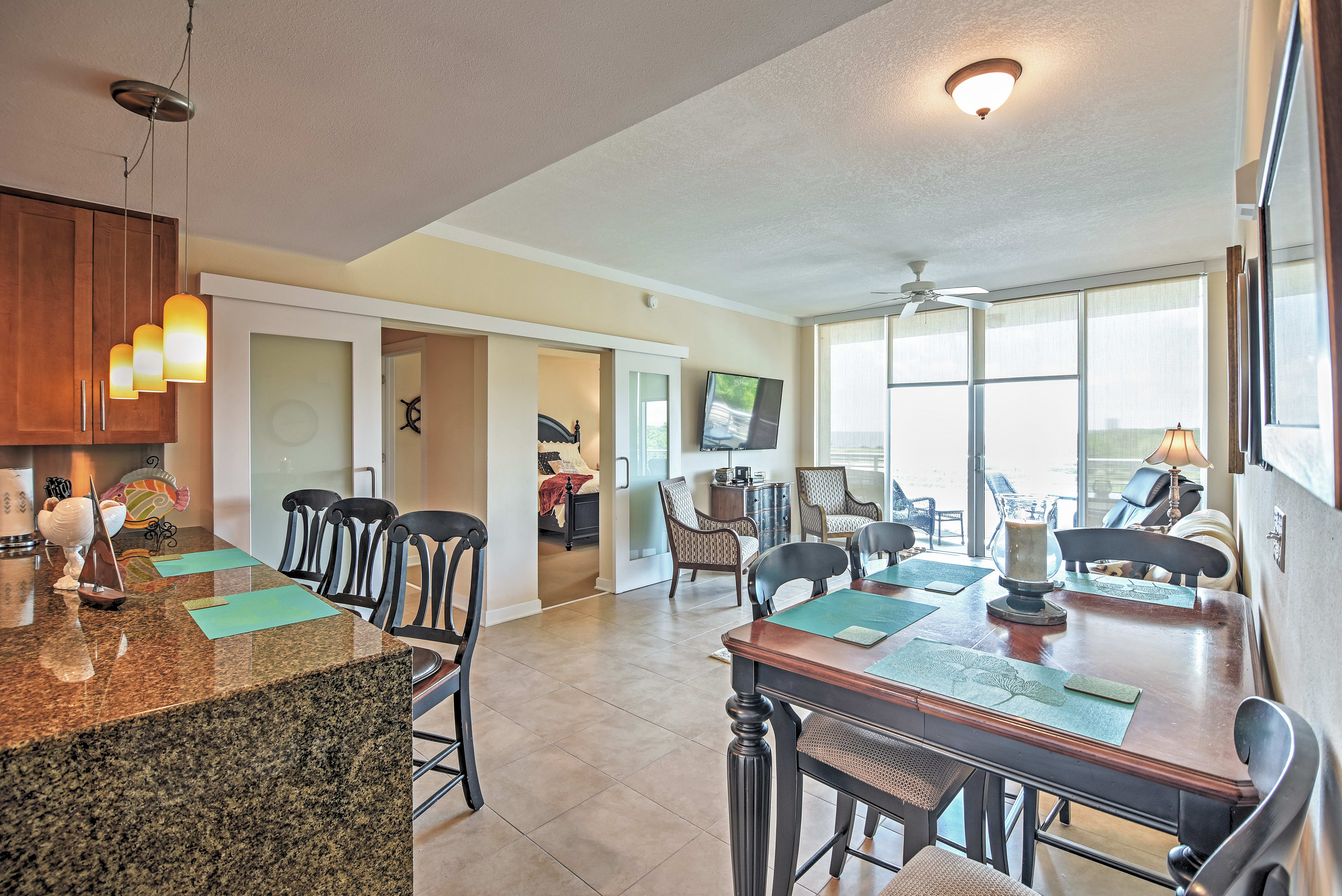 You'll be greeted by ocean views the moment you step foot in this sleek condo.