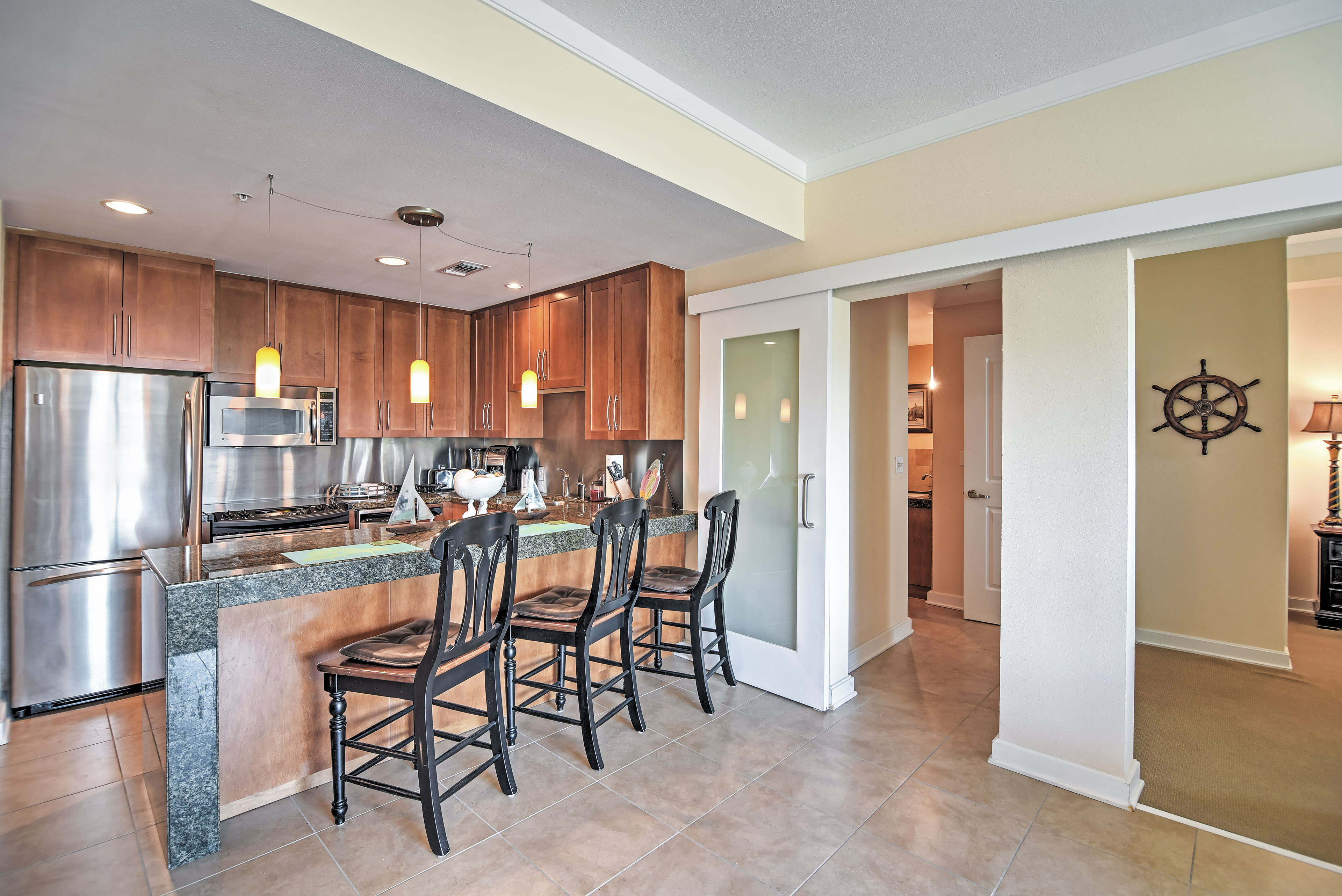 Sip your morning coffee at the gorgeous granite breakfast bar.