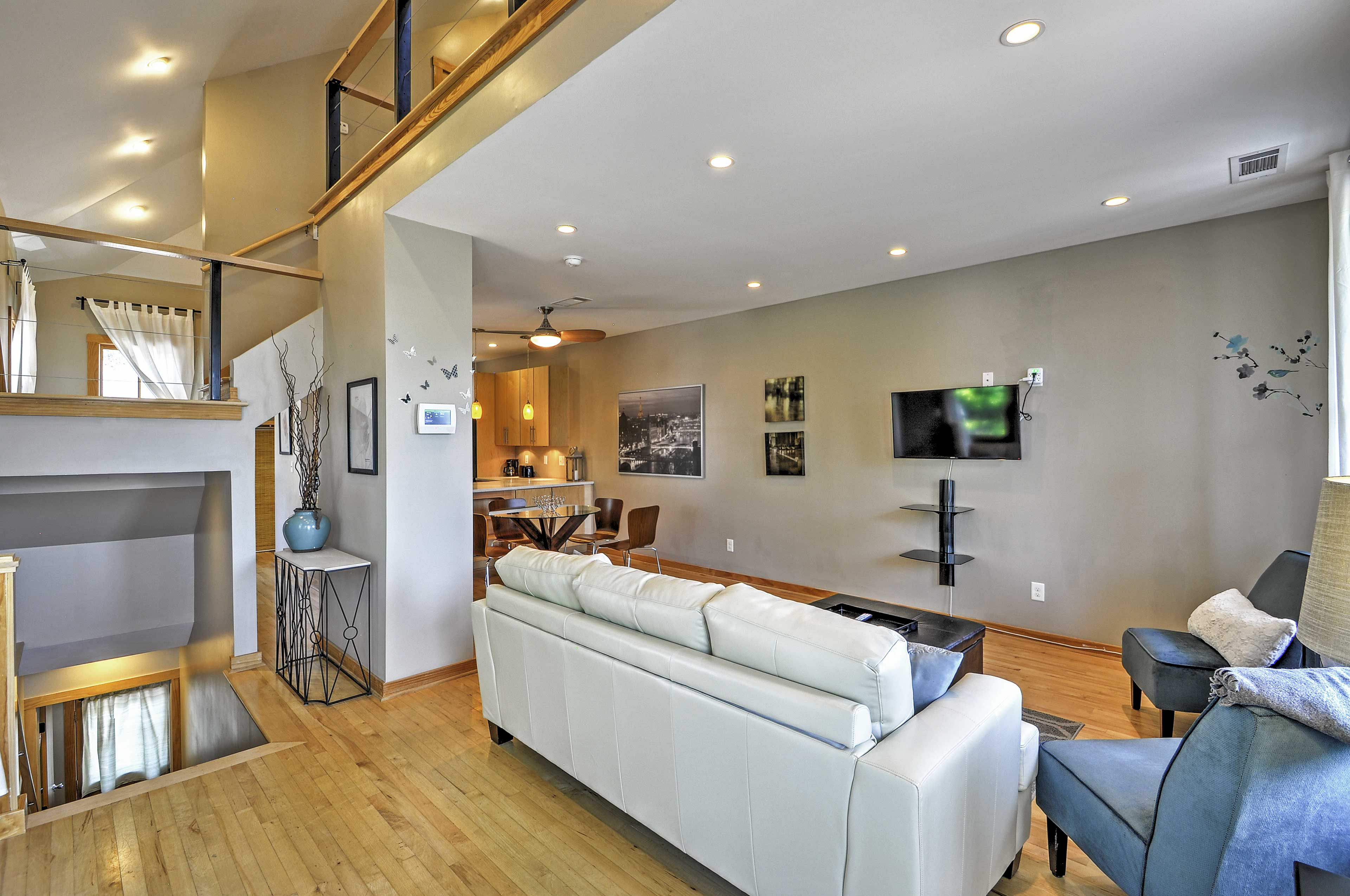 Gorgeous wood floors can found throughout.