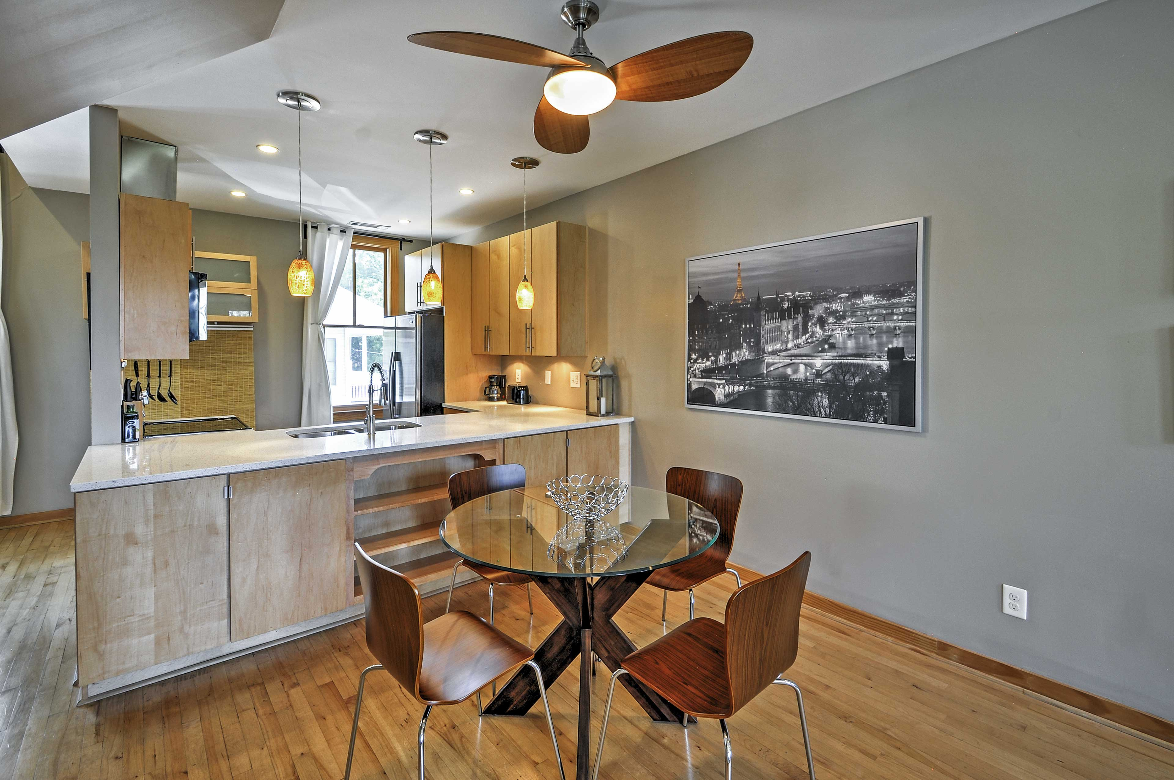 Enjoy a meal with your family at this dining table.