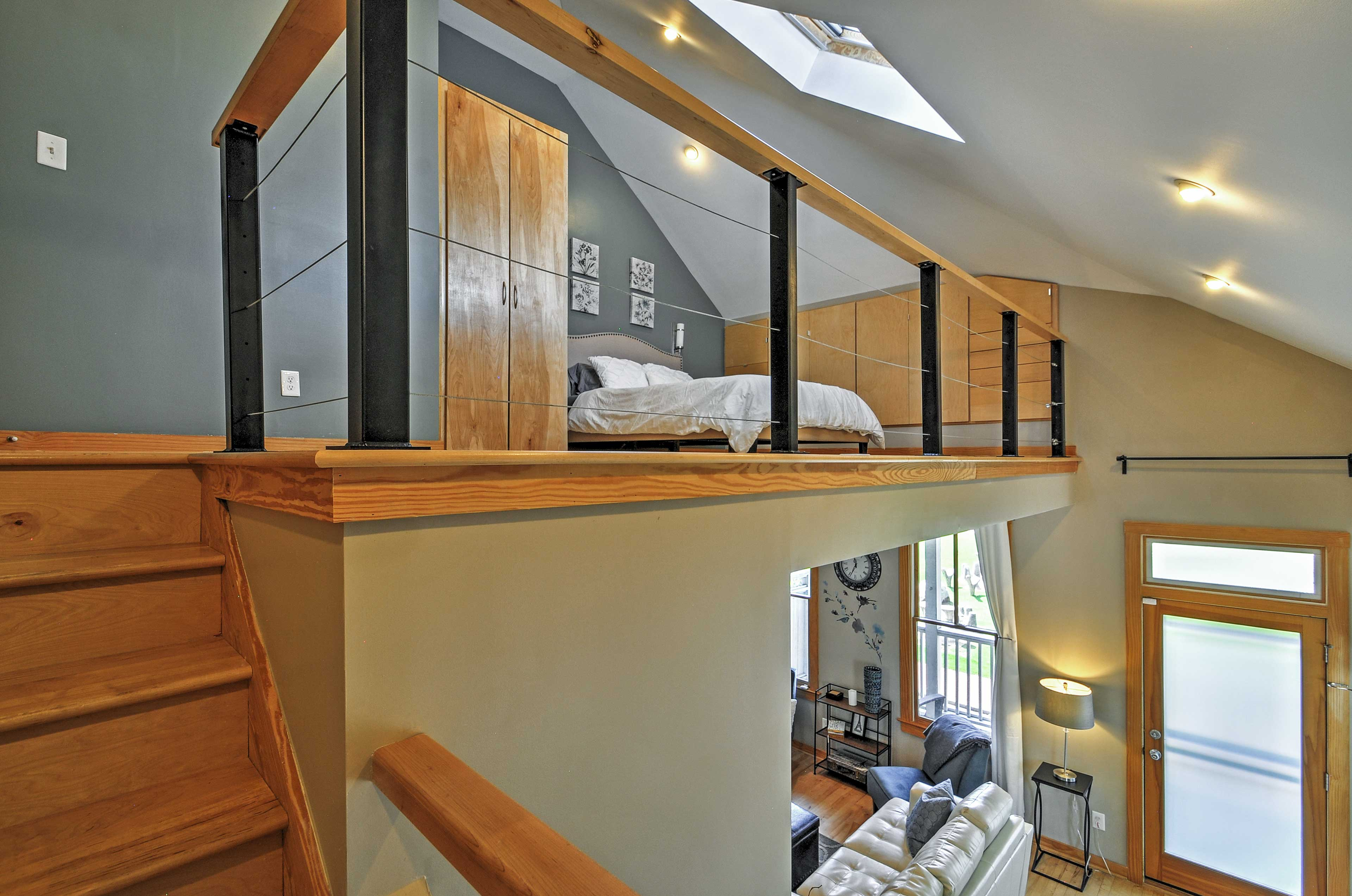 Retreat to rest in the lofted bedroom.