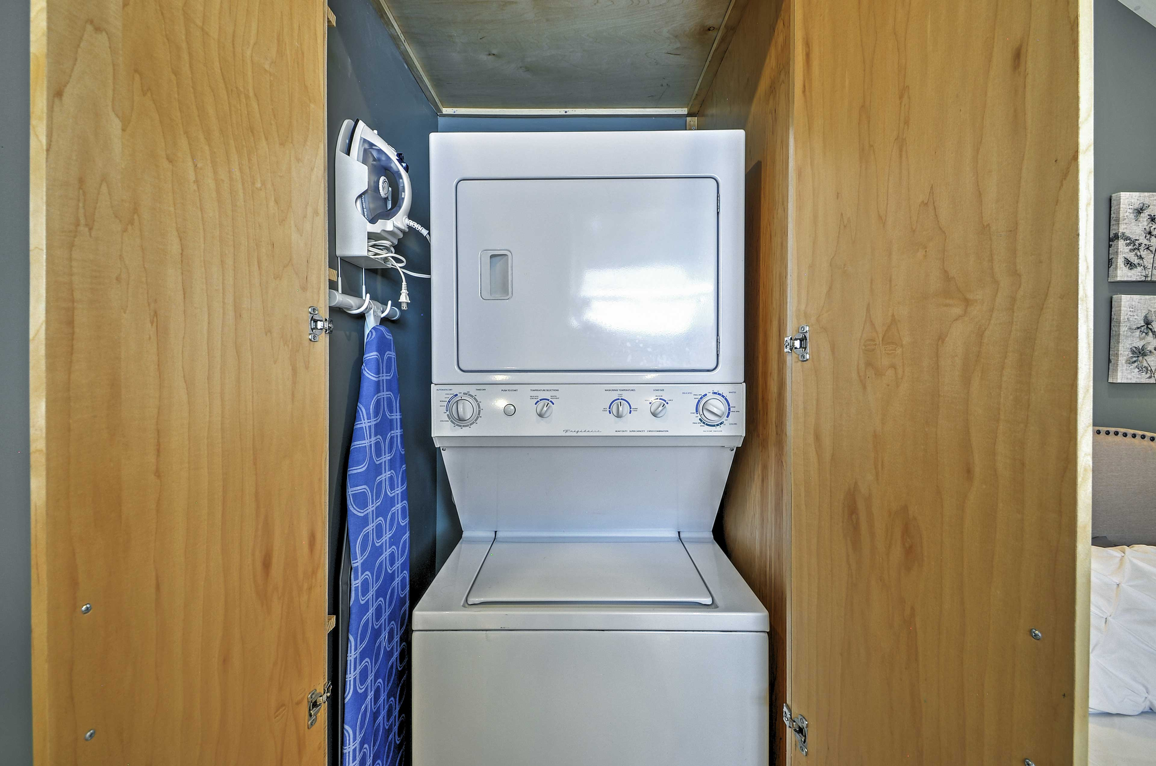 A washer and dryer for your use.