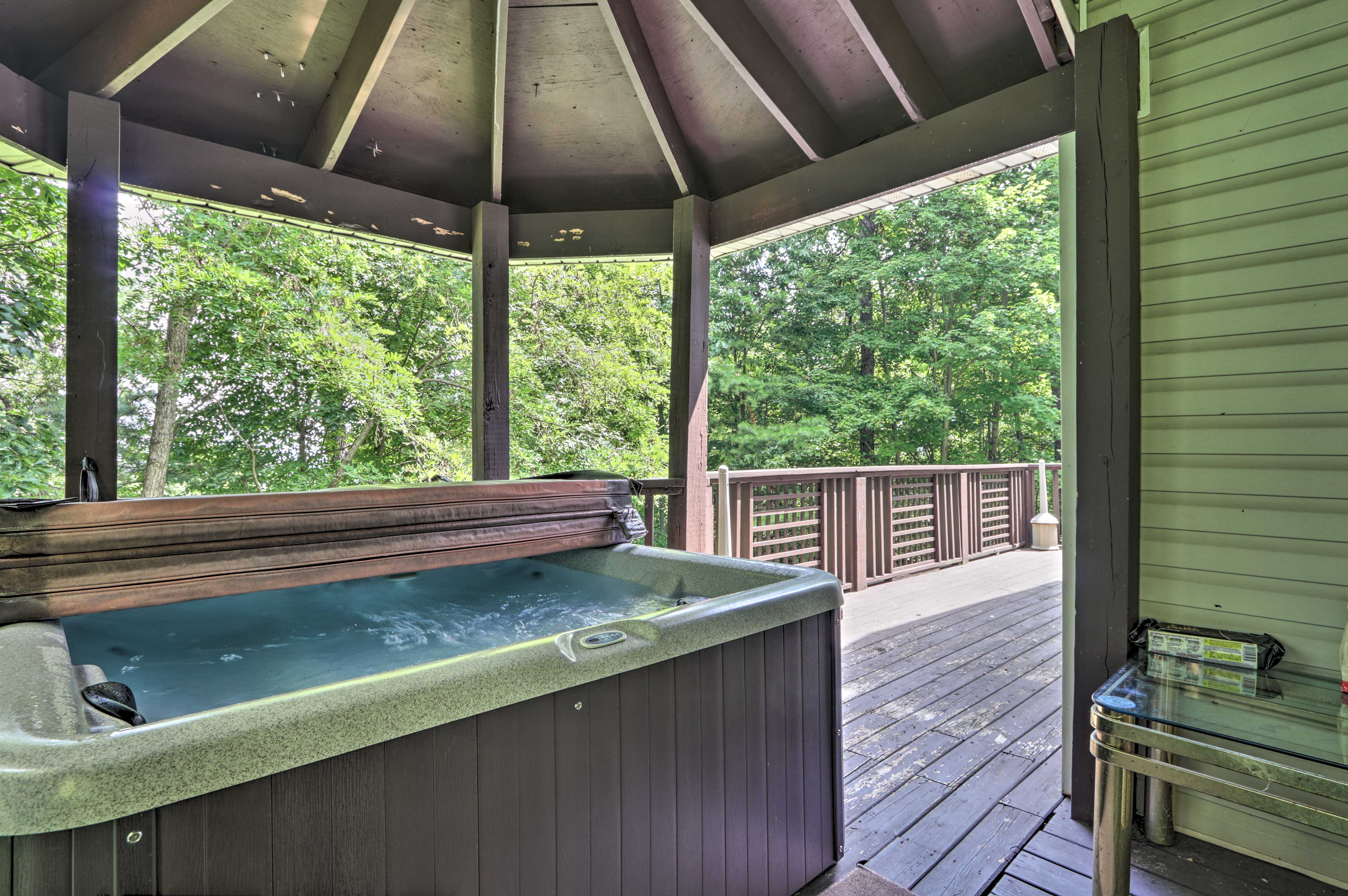 The private hot tub provides immense relaxation.