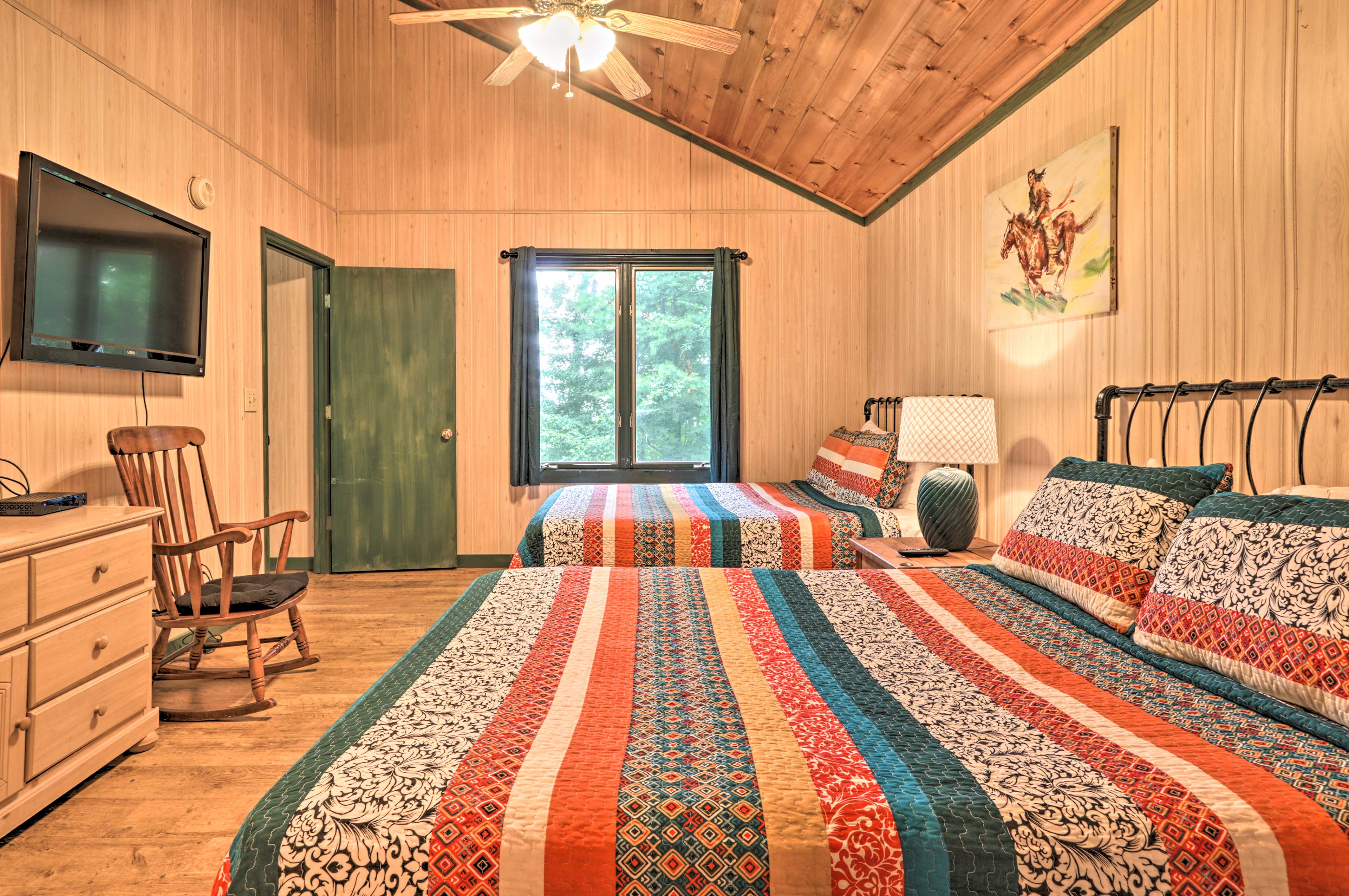 With 2 queen beds, this room sleeps 4.
