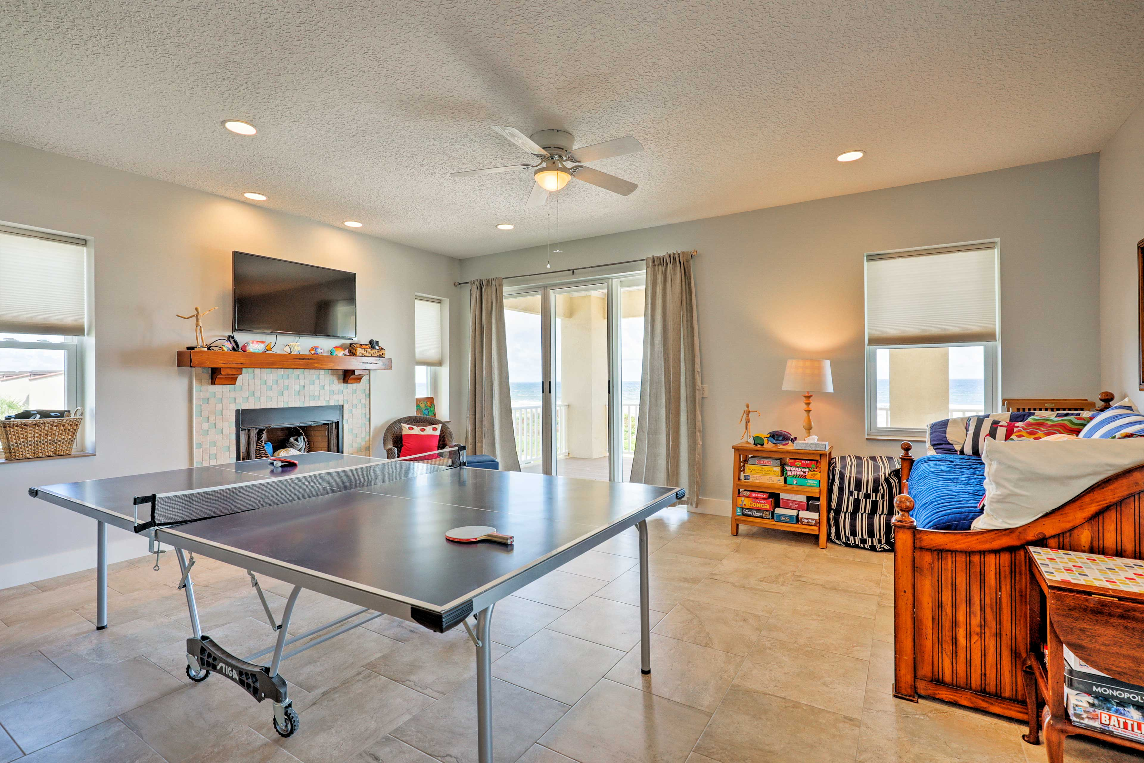 Challenge your friends to a friendly game of ping pong on the third floor.