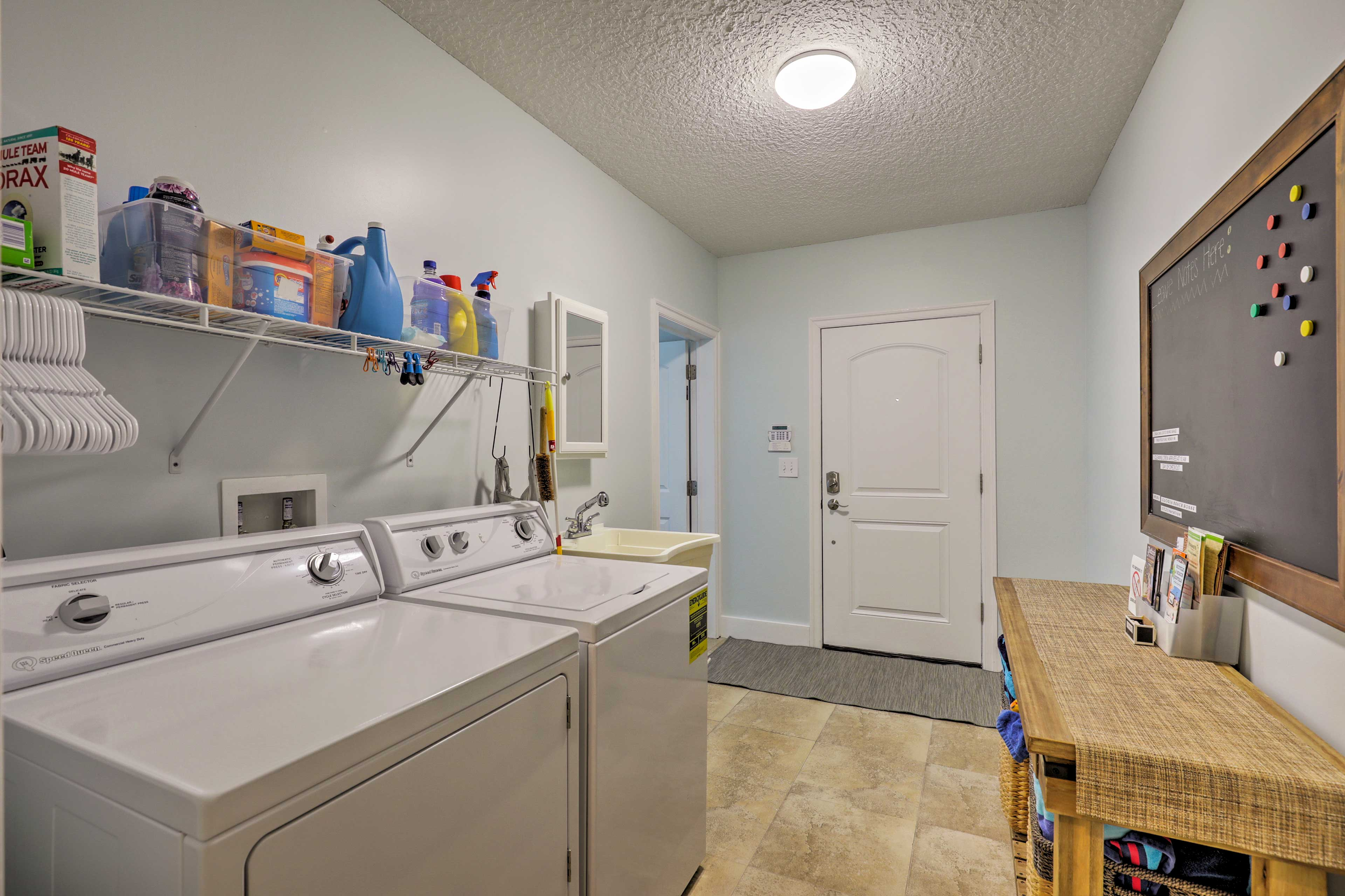 There are 2 separate laundry areas.
