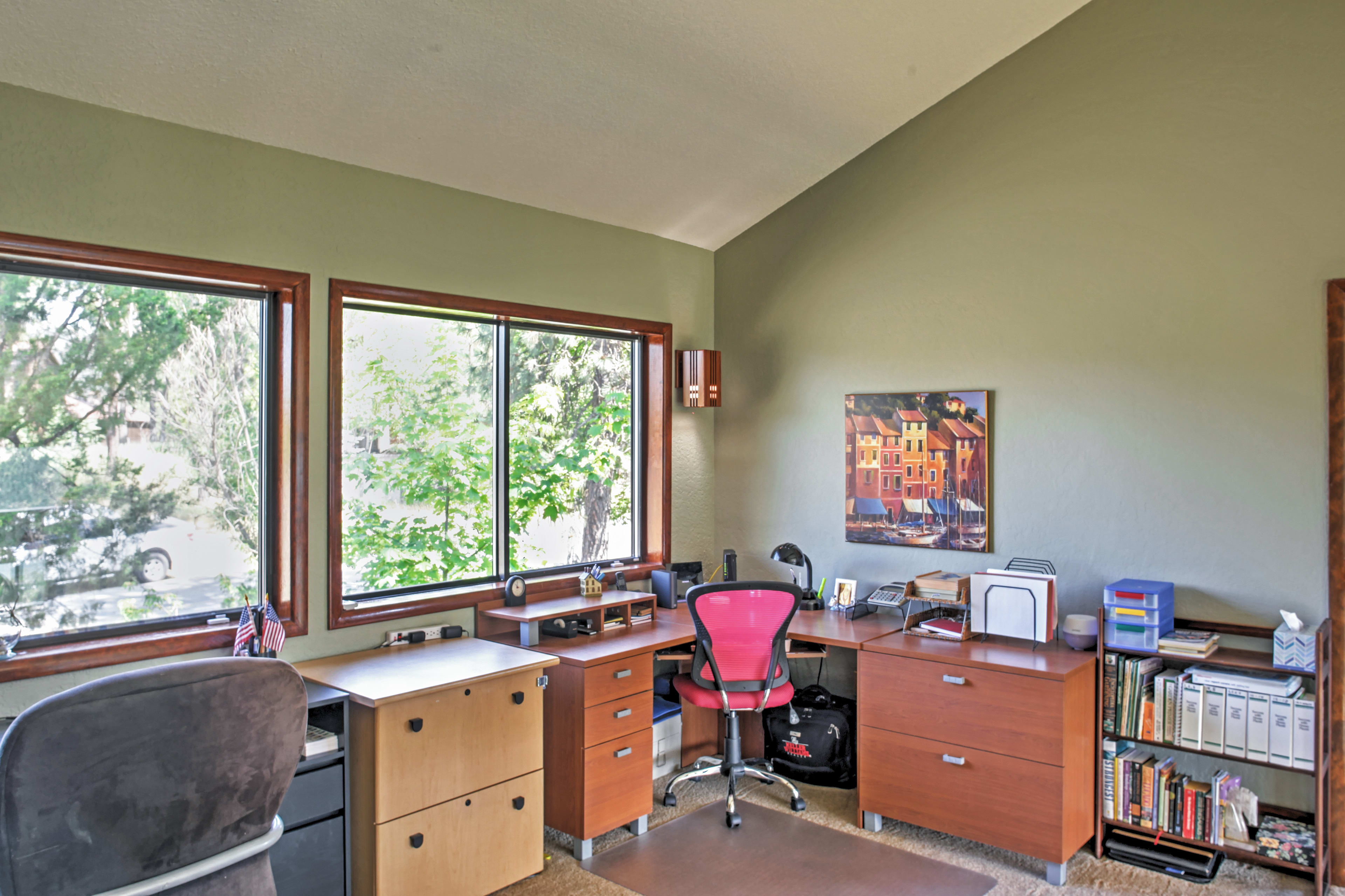 Get in a power hour of work in the office with 2 desks.