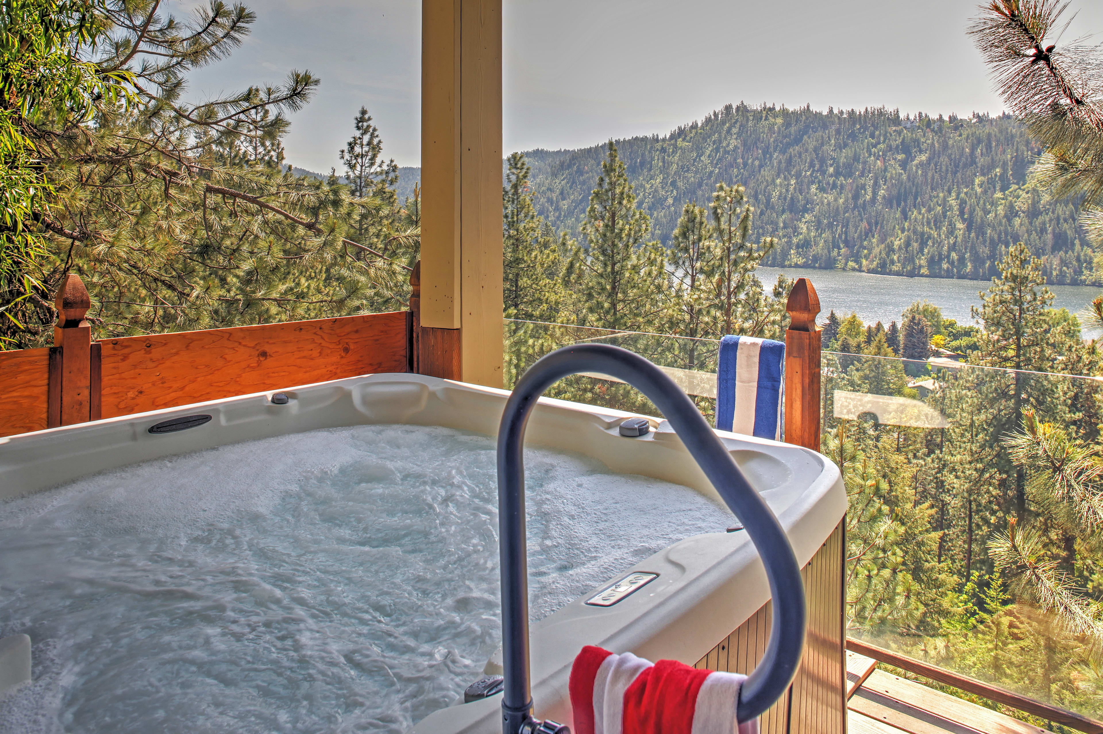 Embrace the fresh mountain air while soaking in the 7-person hot tub!