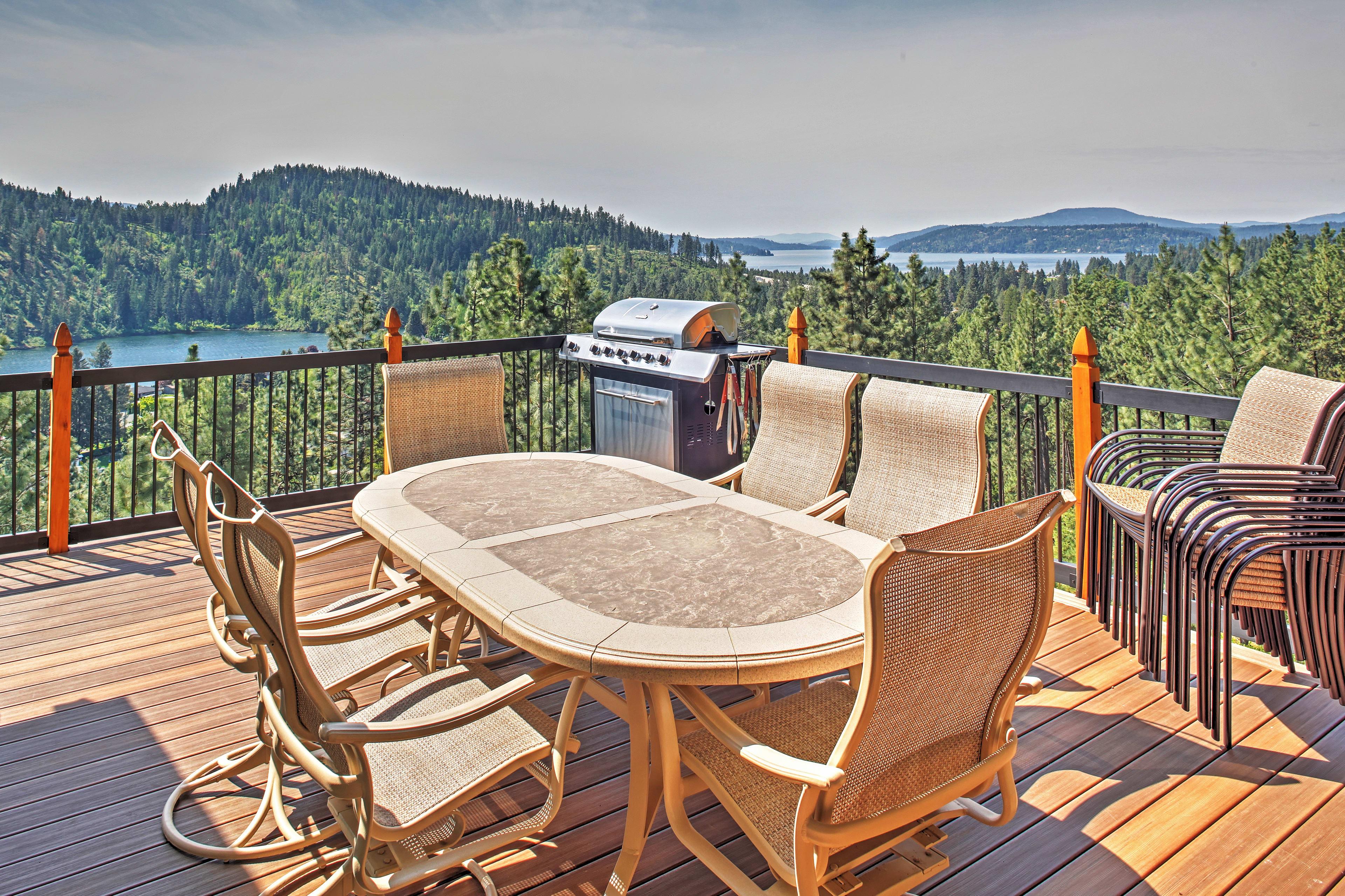 The 300-square-foot deck overlooks Lake Coeur d'Alene & Fernan Lake.