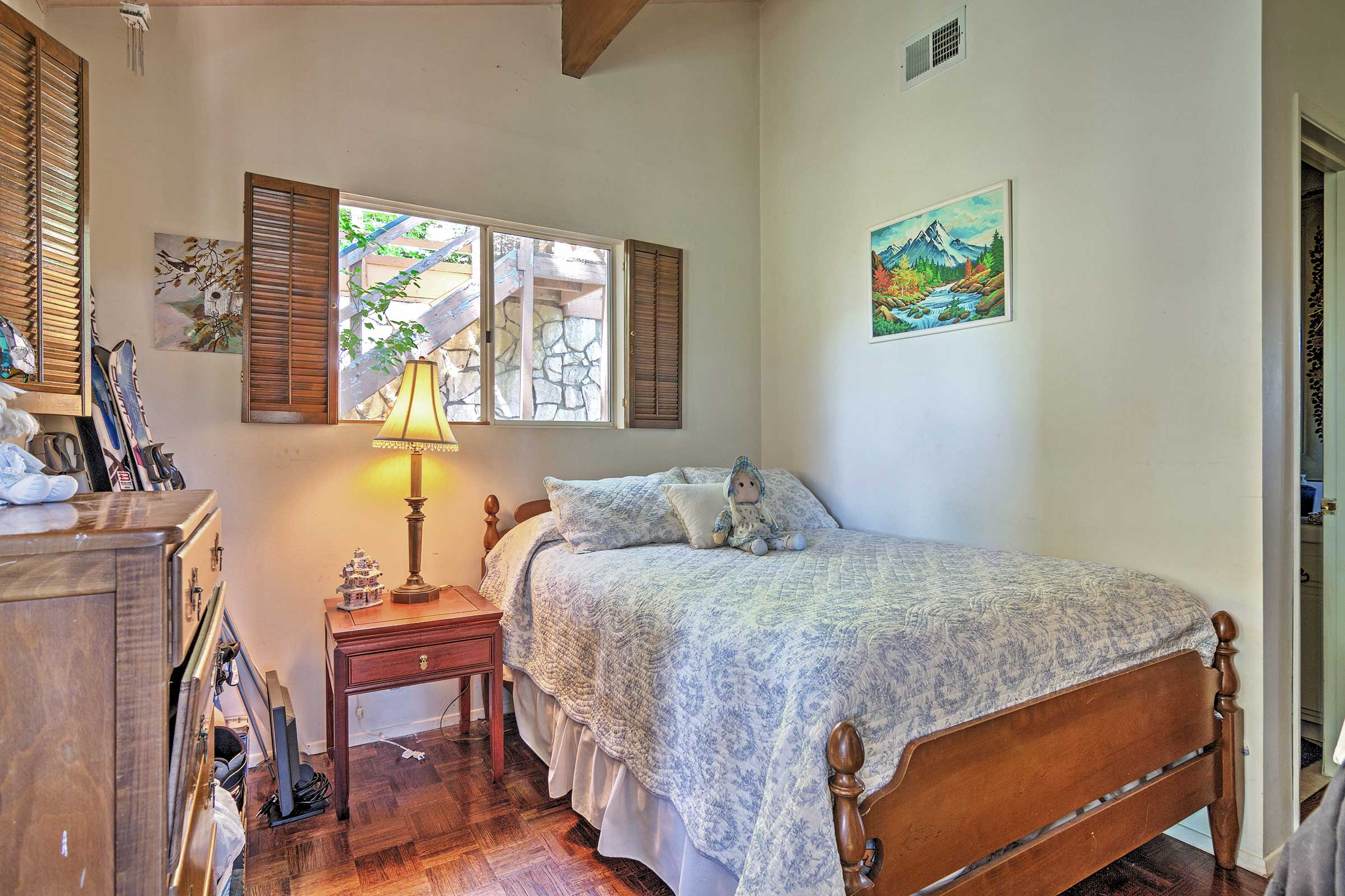 A restful night's sleep can be found on this comfy full-sized bed.
